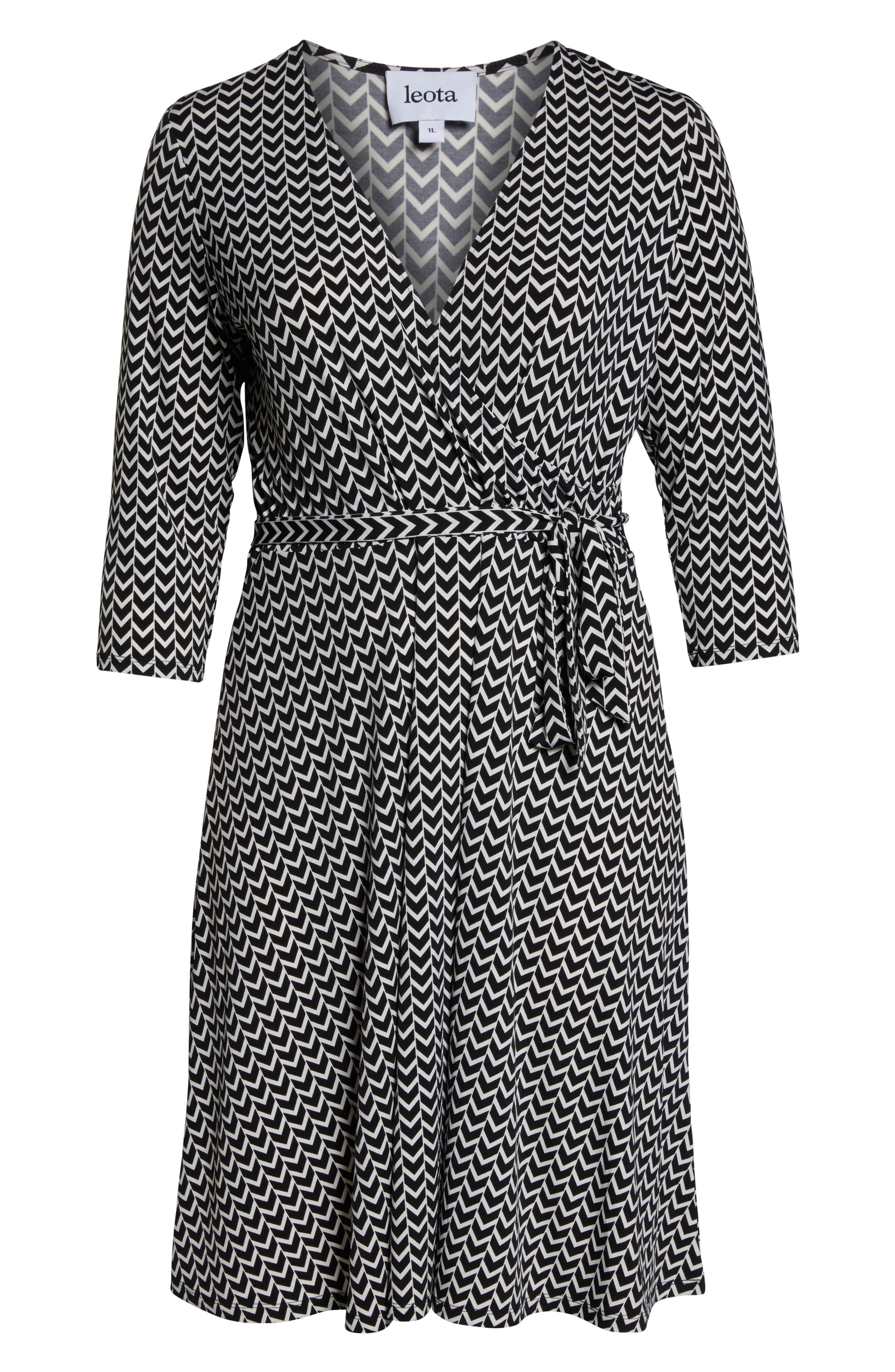 Wrap Dress,                             Alternate thumbnail 7, color,                             HERRINGBONE-BLACK