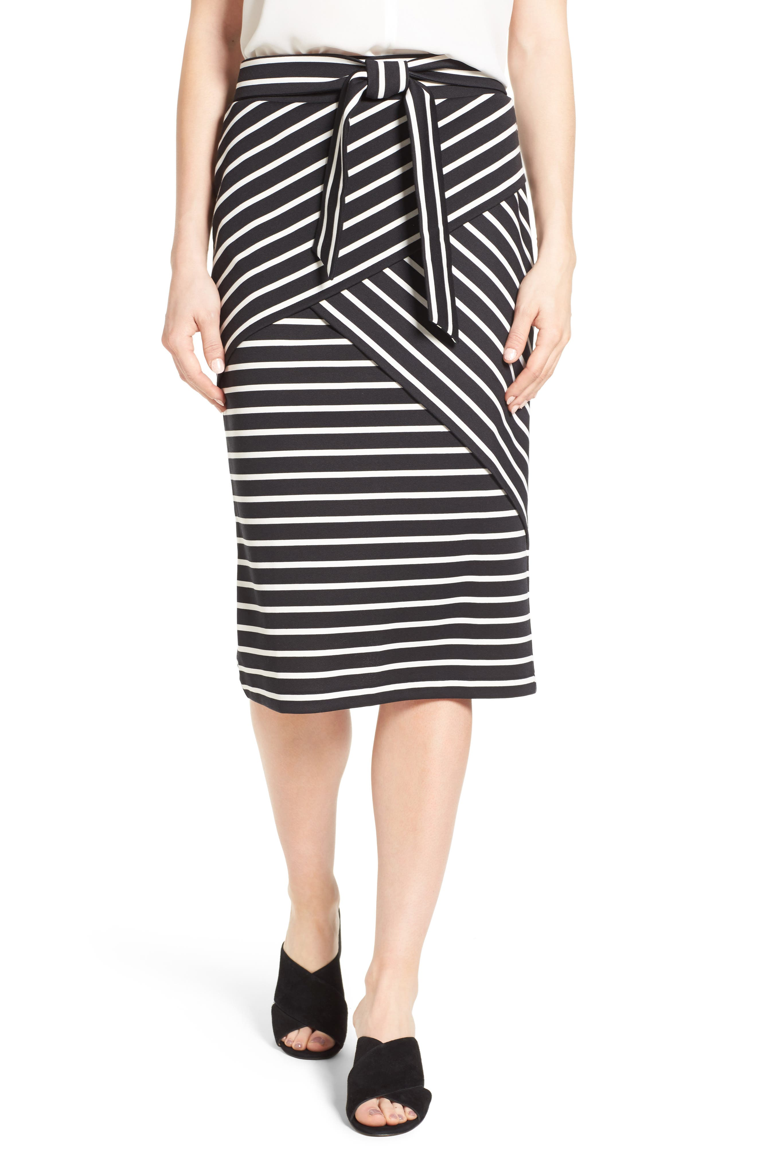 HALOGEN<SUP>®</SUP>,                             Stripe Tie Waist Tiered Front Knit Tube Skirt,                             Main thumbnail 1, color,                             001