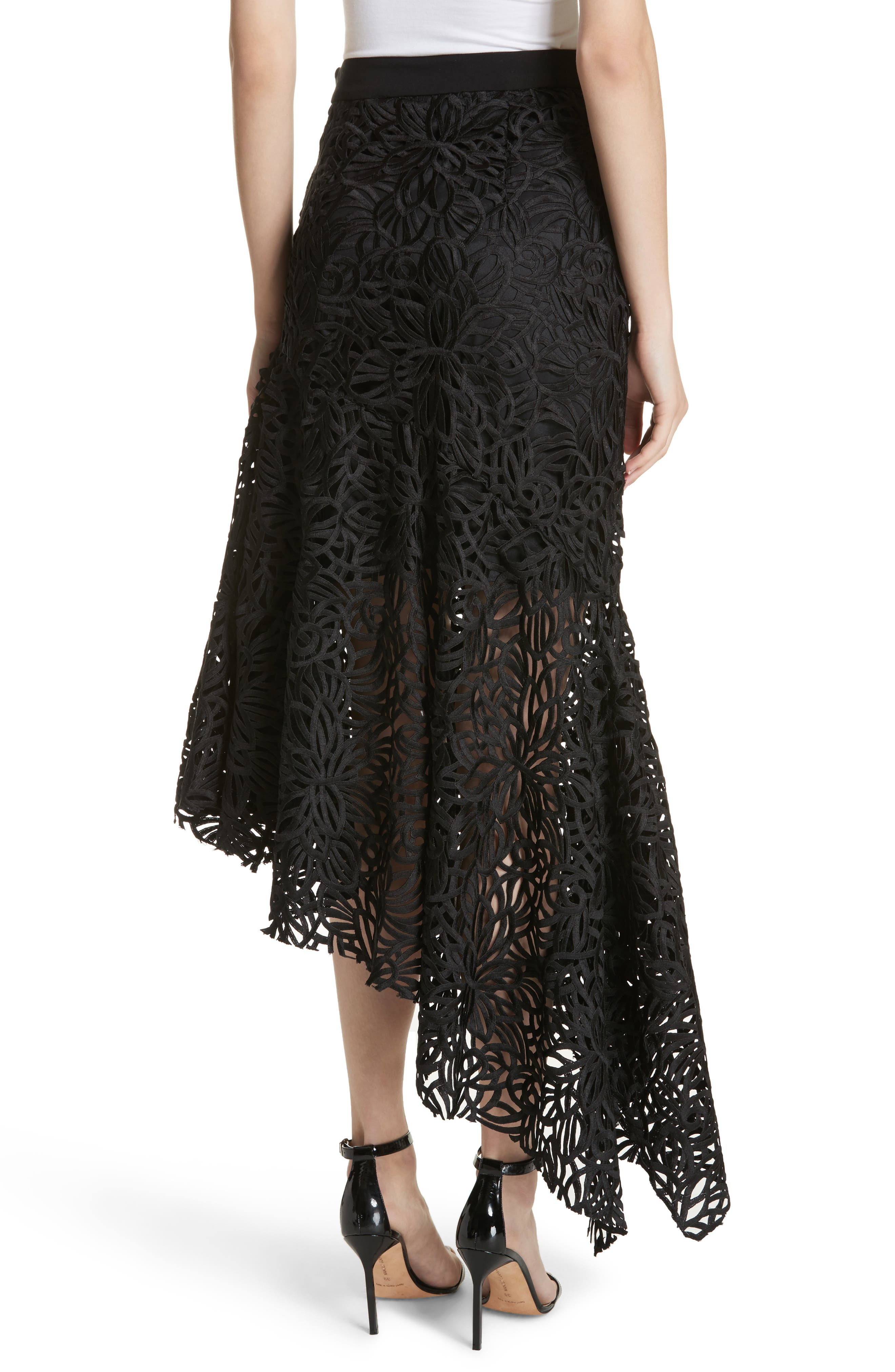 Flounce Hem Lace Skirt,                             Alternate thumbnail 2, color,                             001
