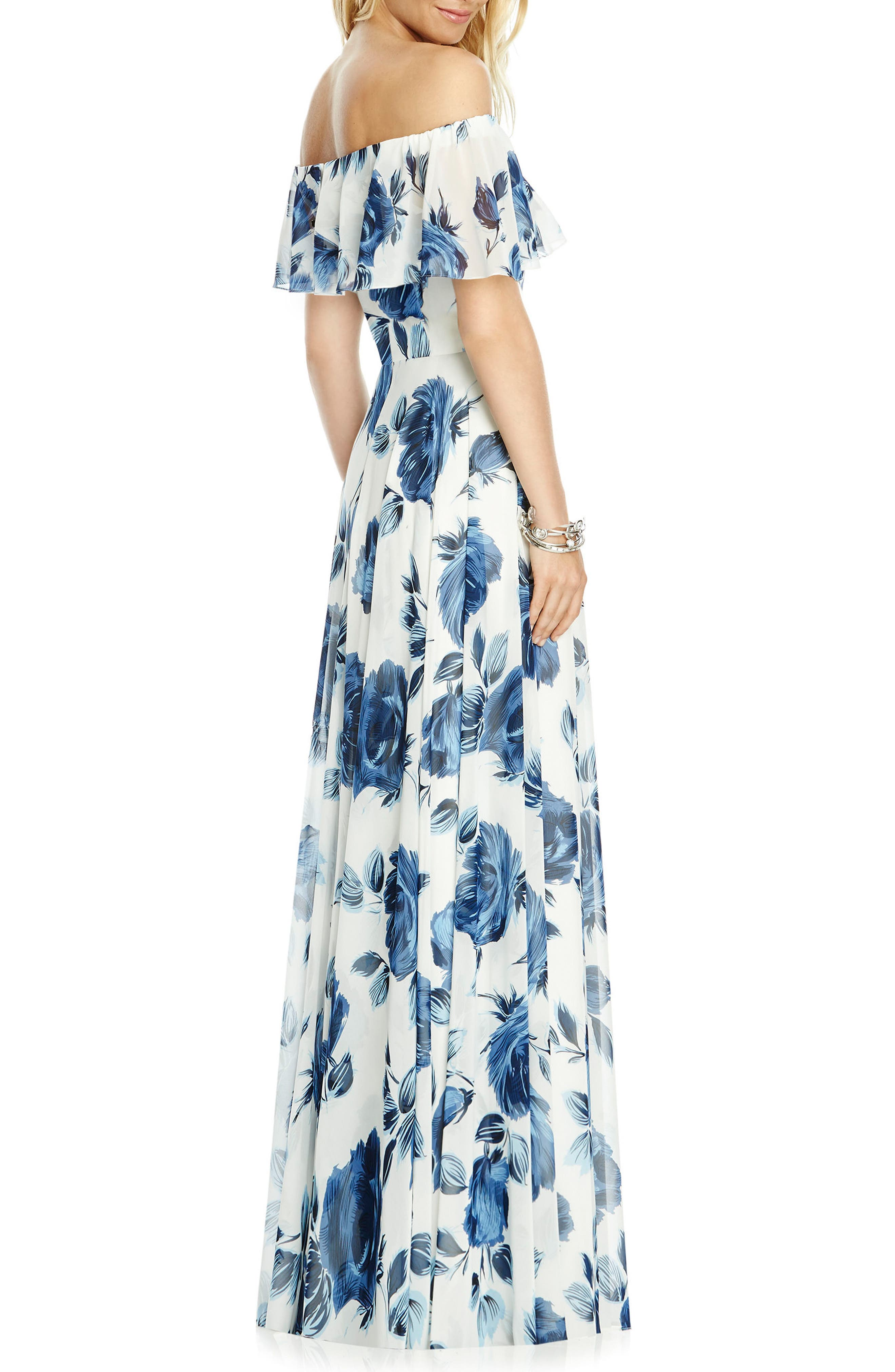 AFTER SIX,                             Floral Chiffon Off the Shoulder Gown,                             Alternate thumbnail 2, color,                             INDIGO ROSE