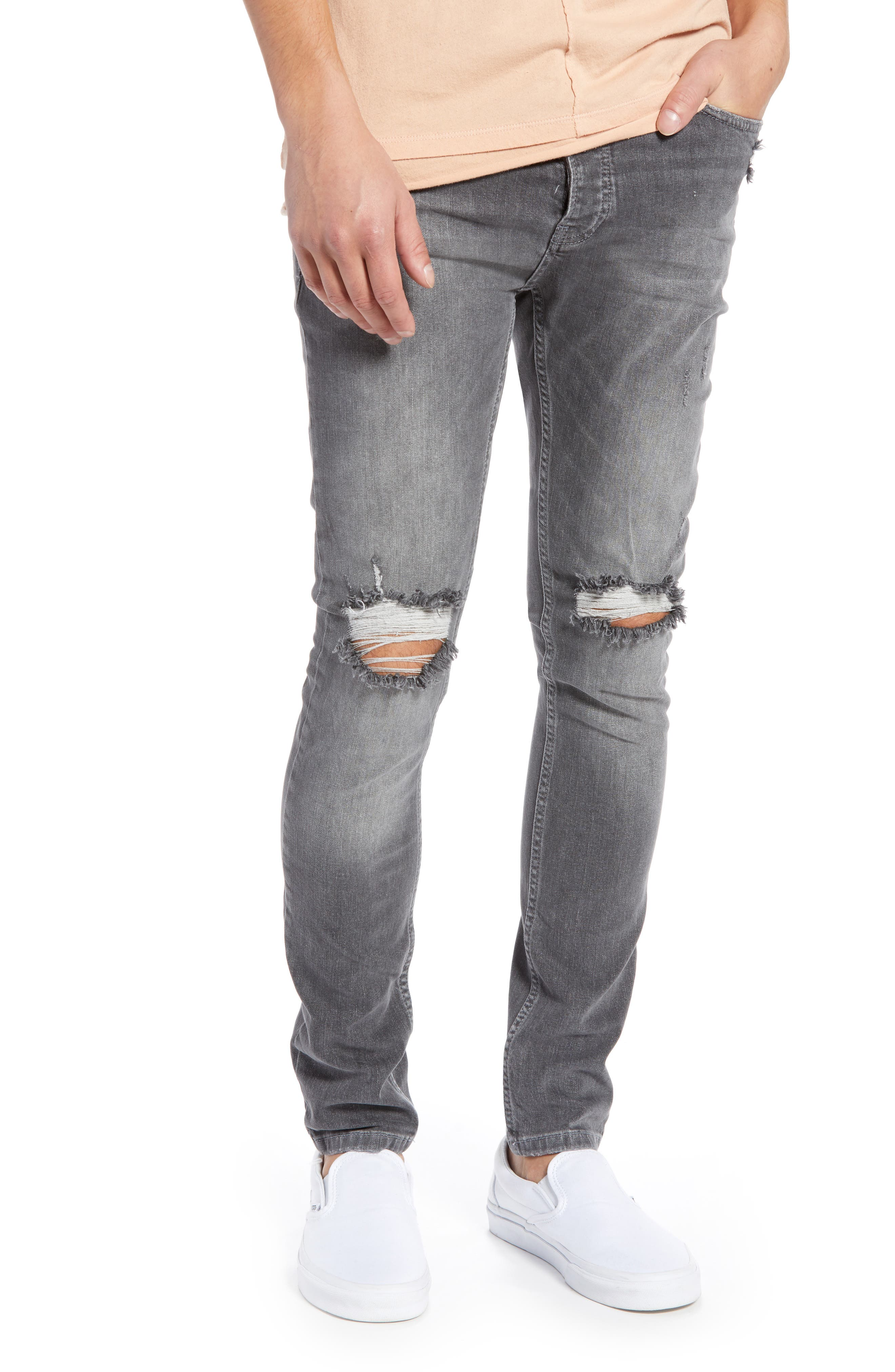 Ripped Stretch Skinny Fit Jeans,                             Main thumbnail 1, color,                             GREY