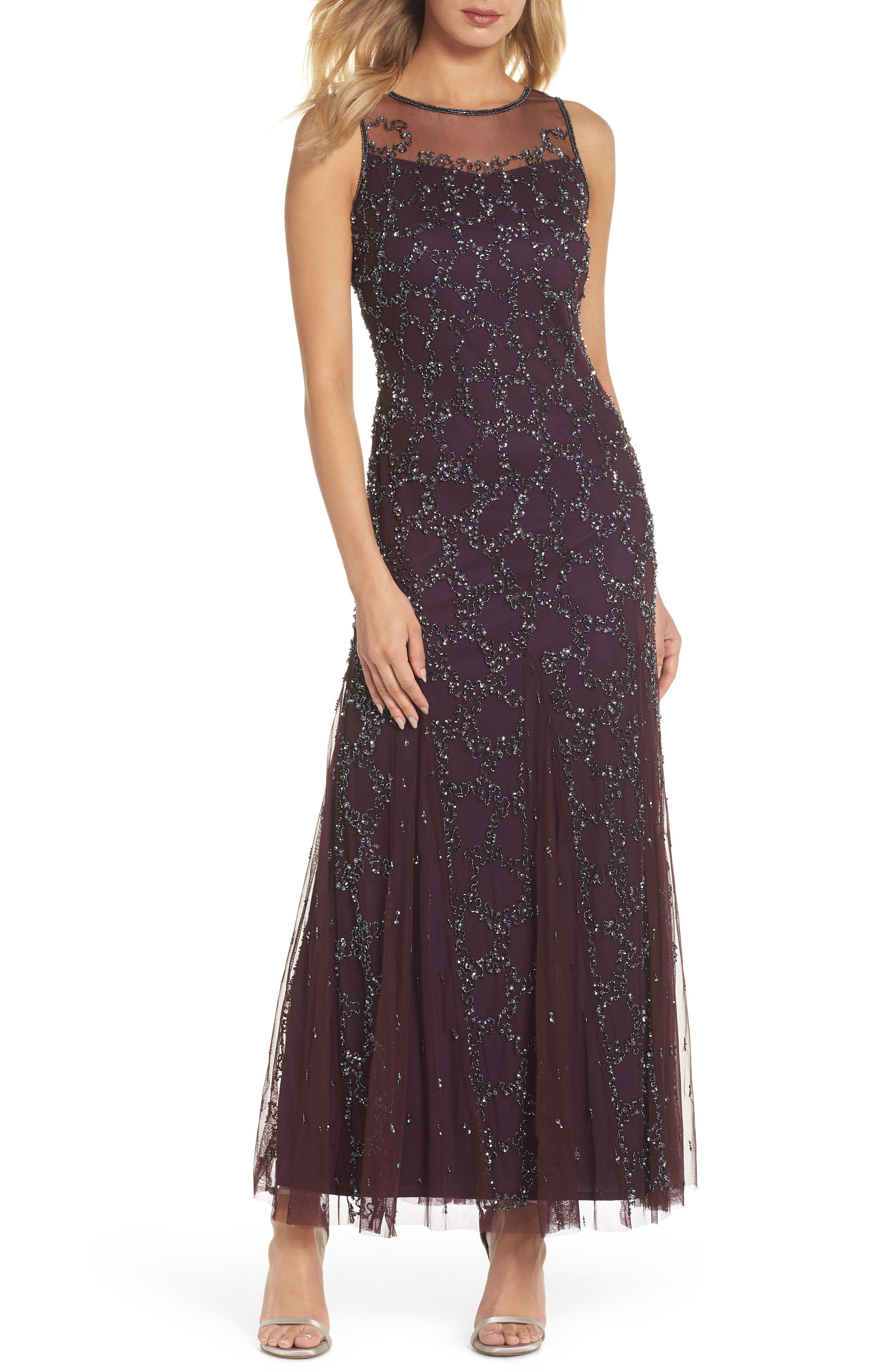 Sequin Mesh Gown with Jacket,                             Alternate thumbnail 3, color,                             502