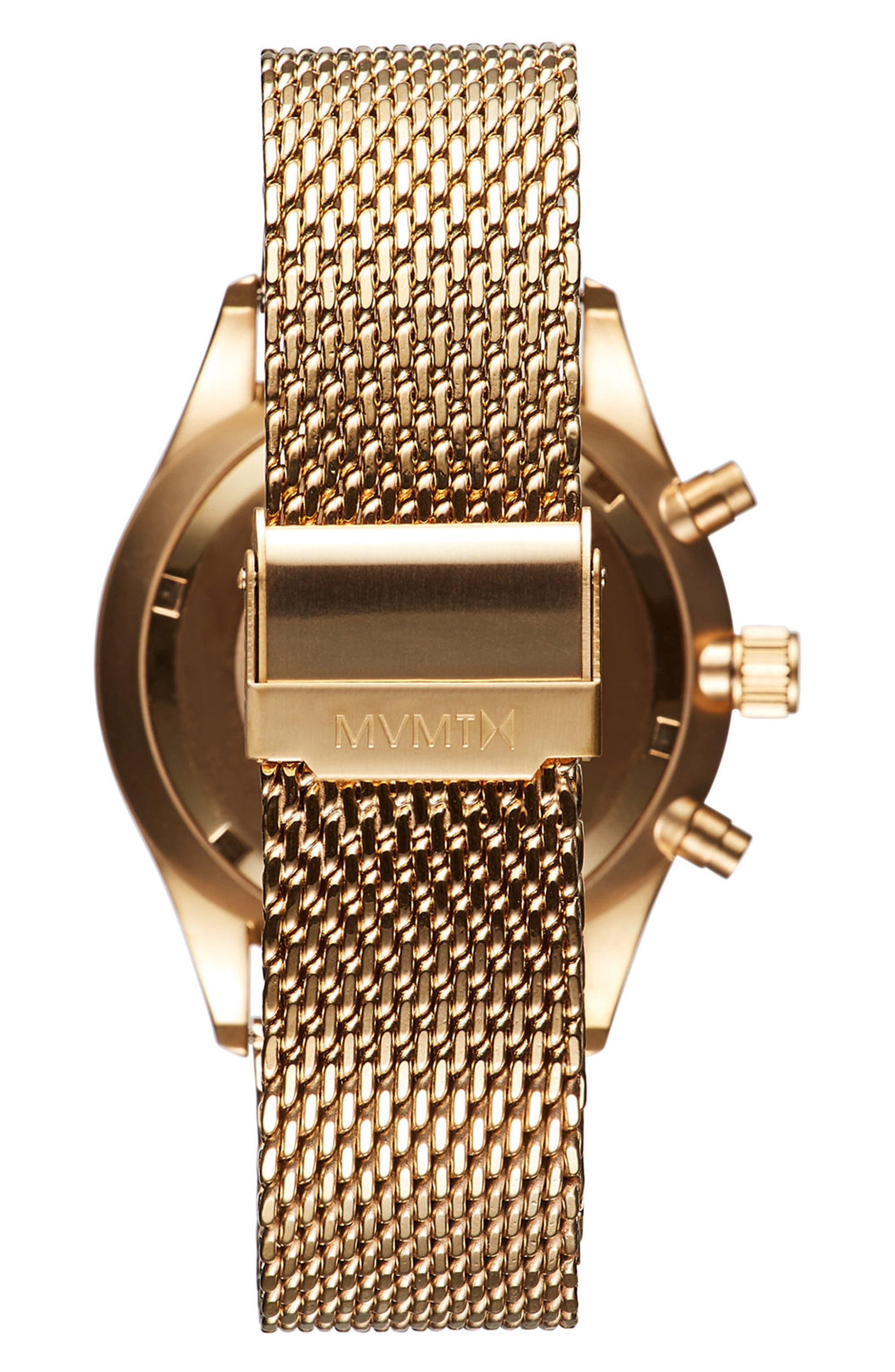 Voyager Chronograph Mesh Strap Watch, 42mm,                             Alternate thumbnail 2, color,                             BLACK/ GOLD