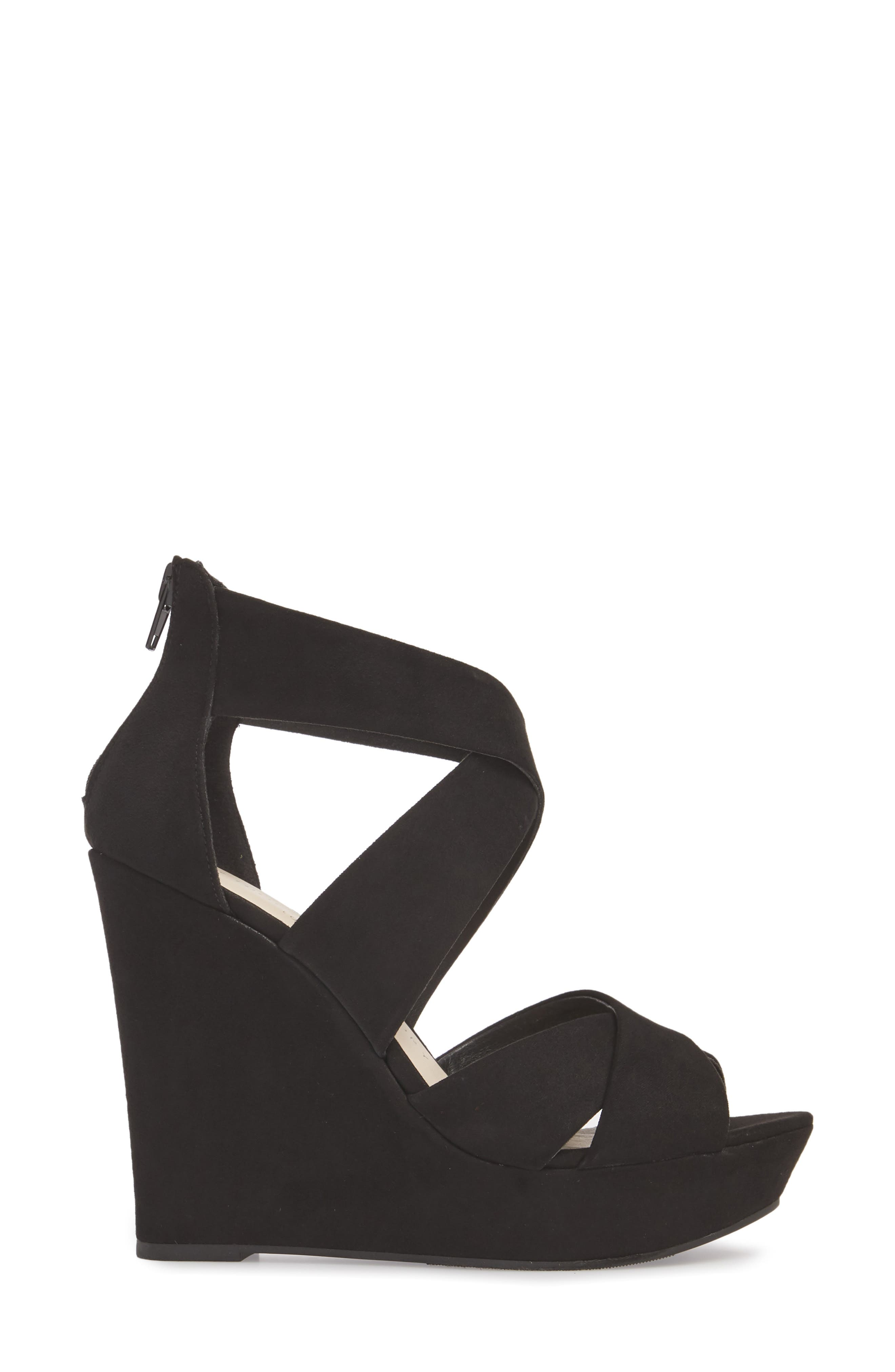 Milani Platform Wedge Sandal,                             Alternate thumbnail 3, color,                             BLACK