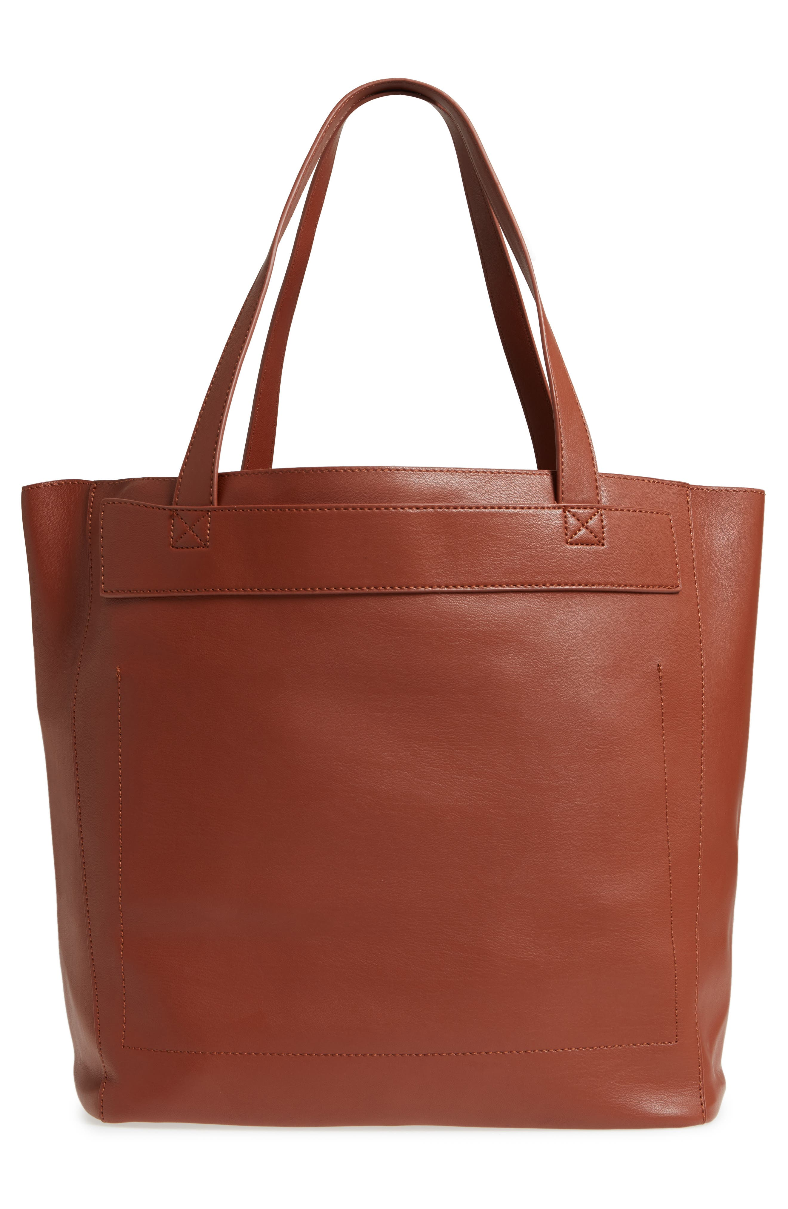 Stitched Faux Leather Tote,                             Alternate thumbnail 3, color,                             COGNAC