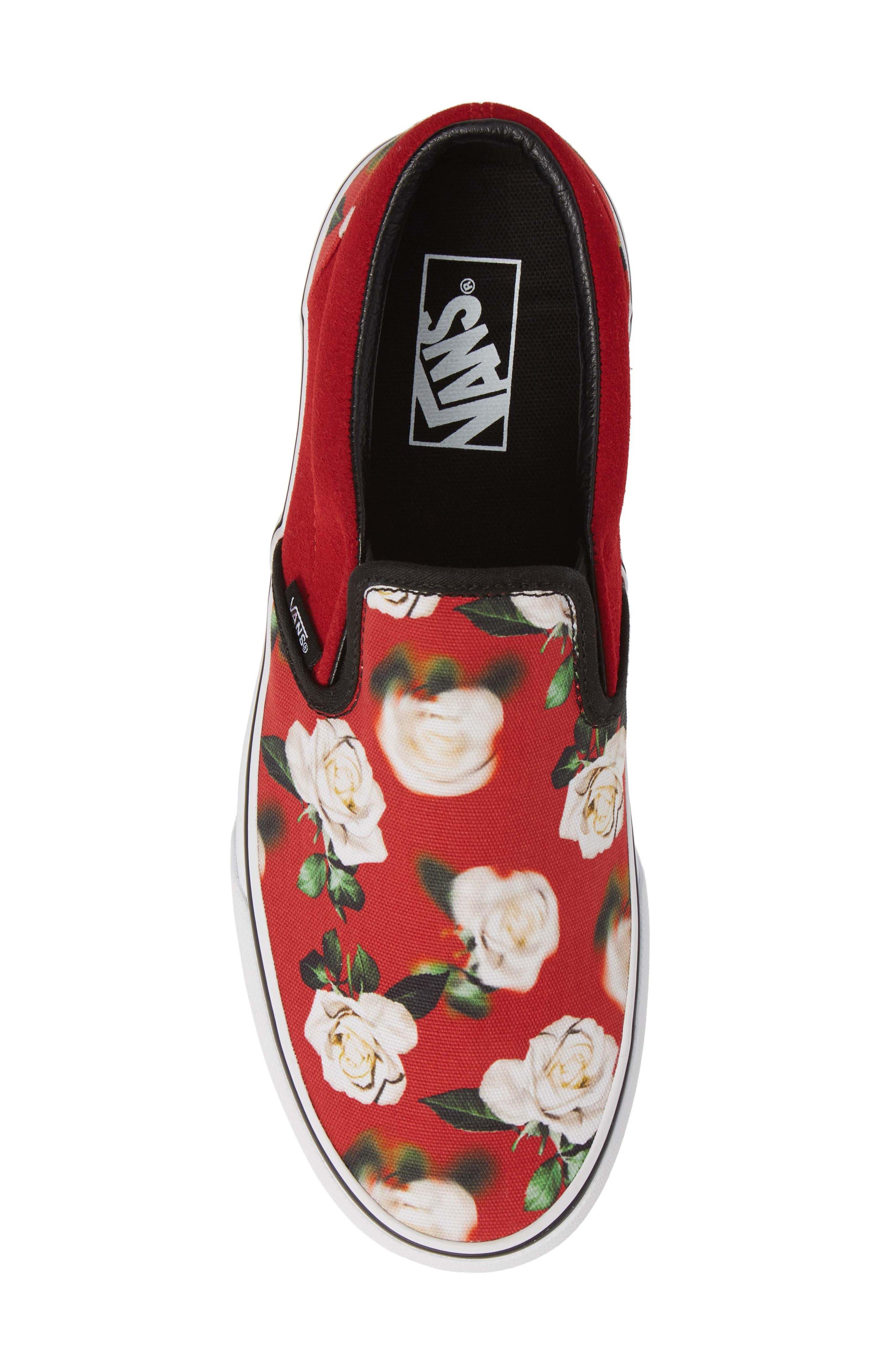 'Classic' Slip-On Sneaker,                             Alternate thumbnail 5, color,                             CHILI PEPPER/ ROMANTIC FLORAL
