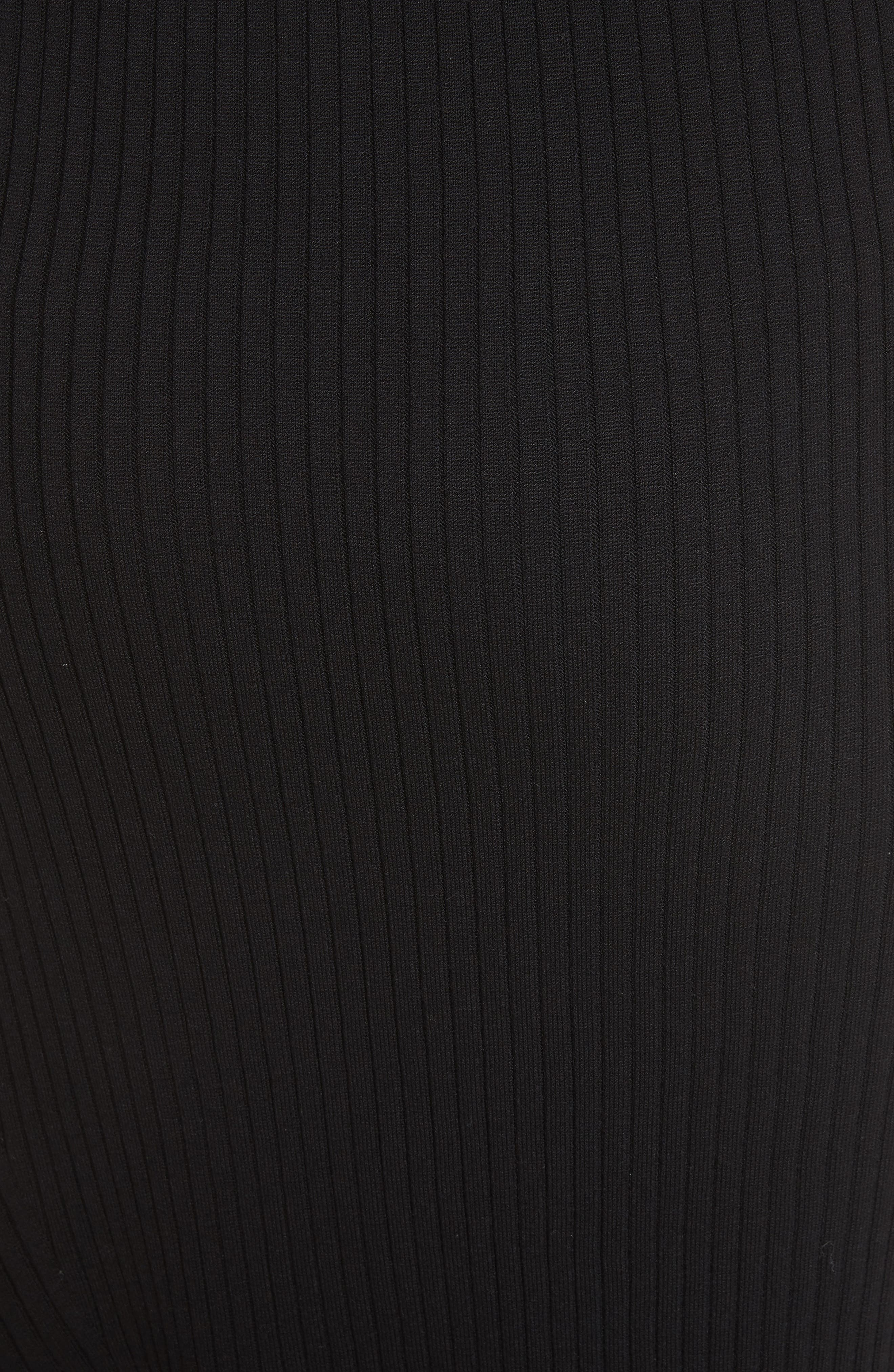 Flat Rib Knit Asymmetrical Skirt,                             Alternate thumbnail 6, color,                             CAVIAR