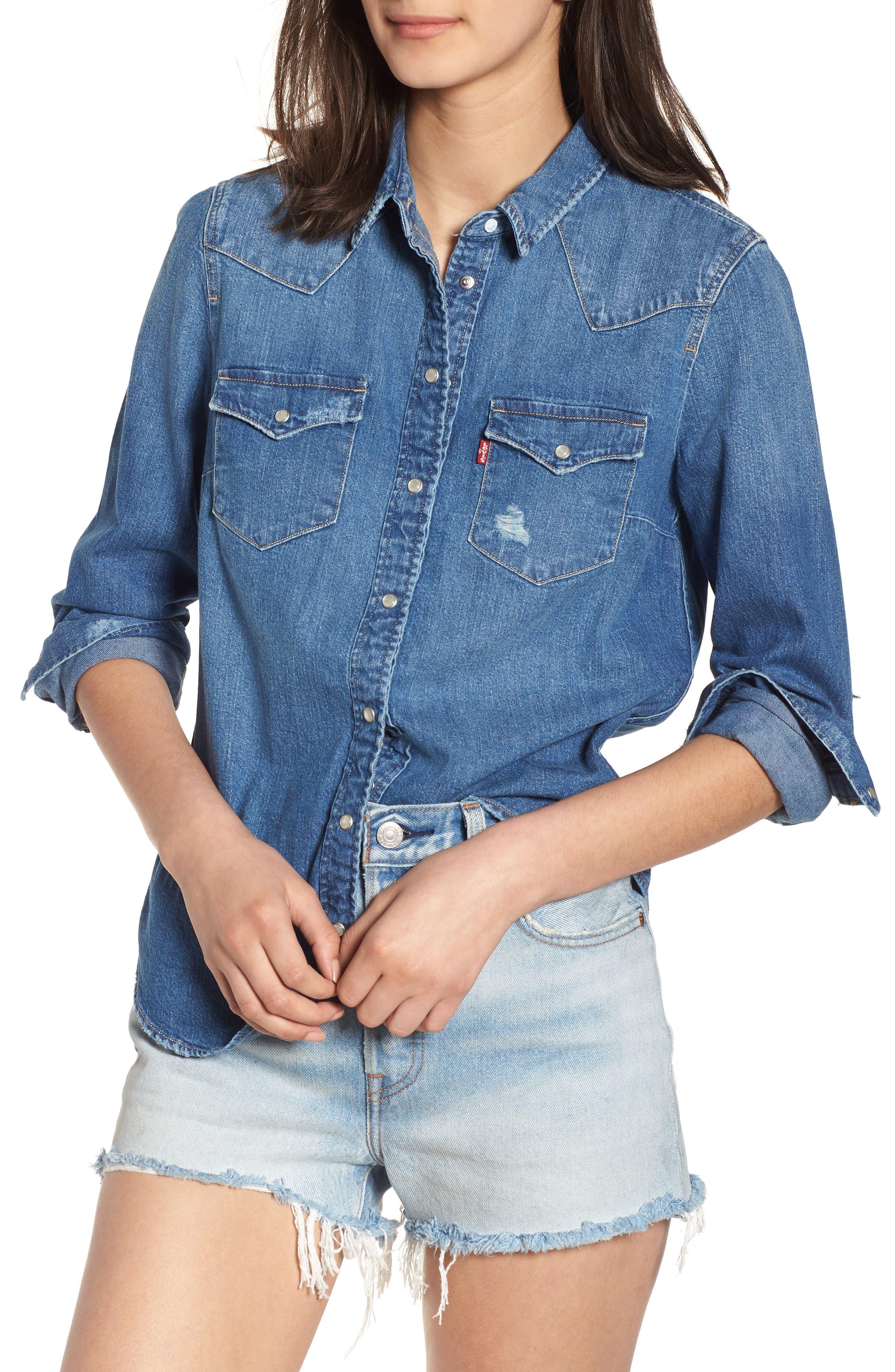 Ultimate Western Denim Shirt,                         Main,                         color, 420