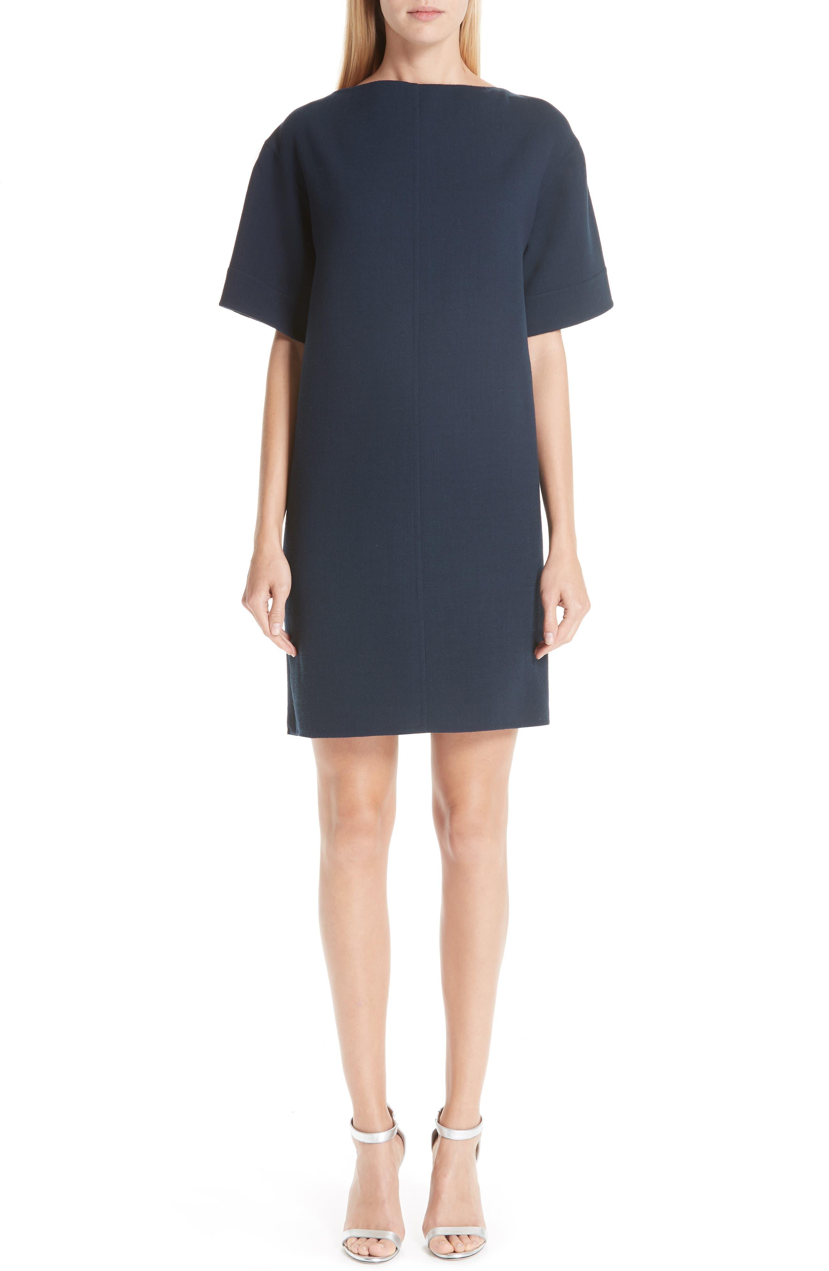 Oscar De La Renta Bow Back Stretch Wool Shift Dress, Blue