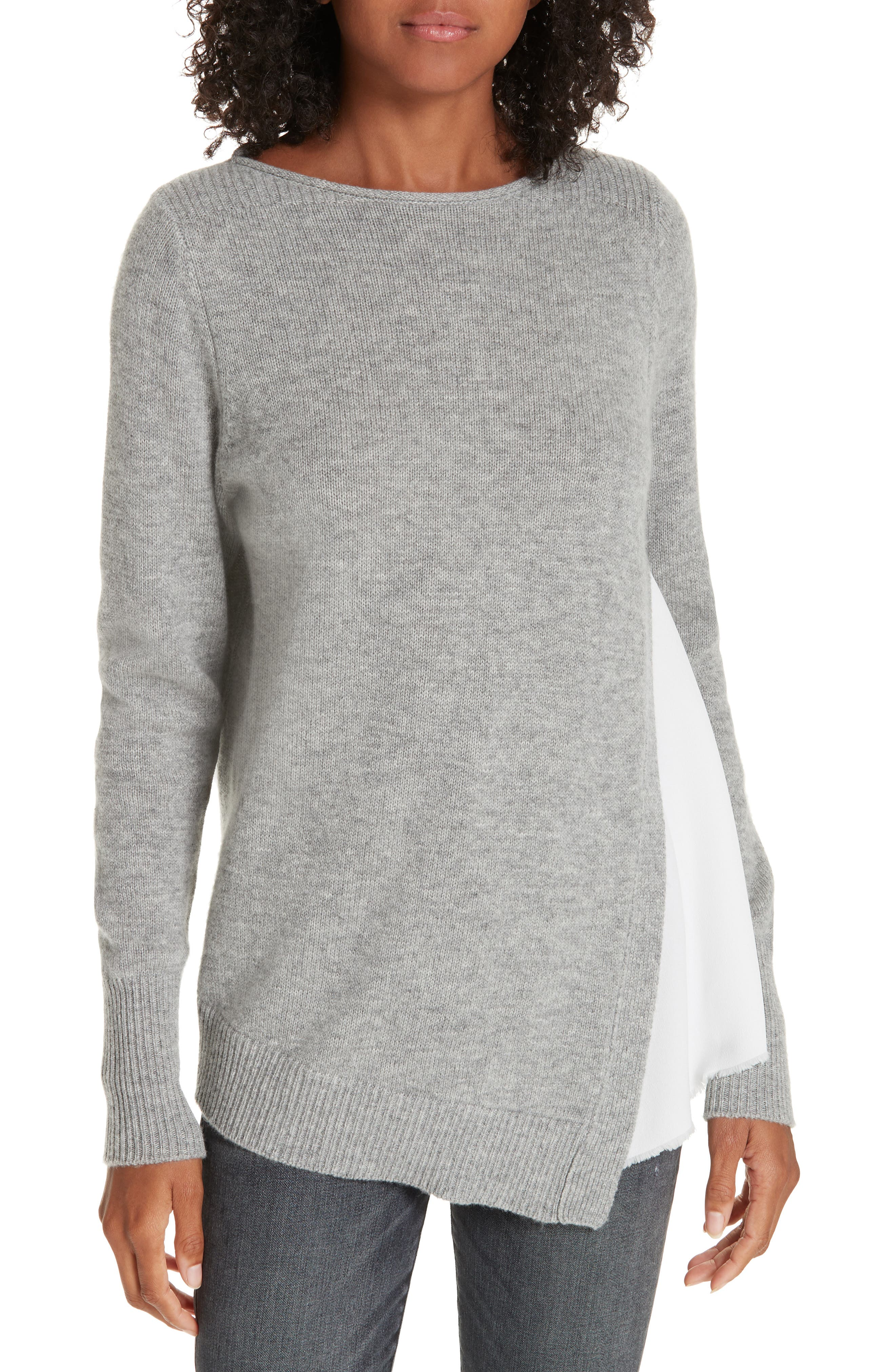 BROCHU WALKER Wool & Cashmere Layered Sweater in Arctic Grey With White