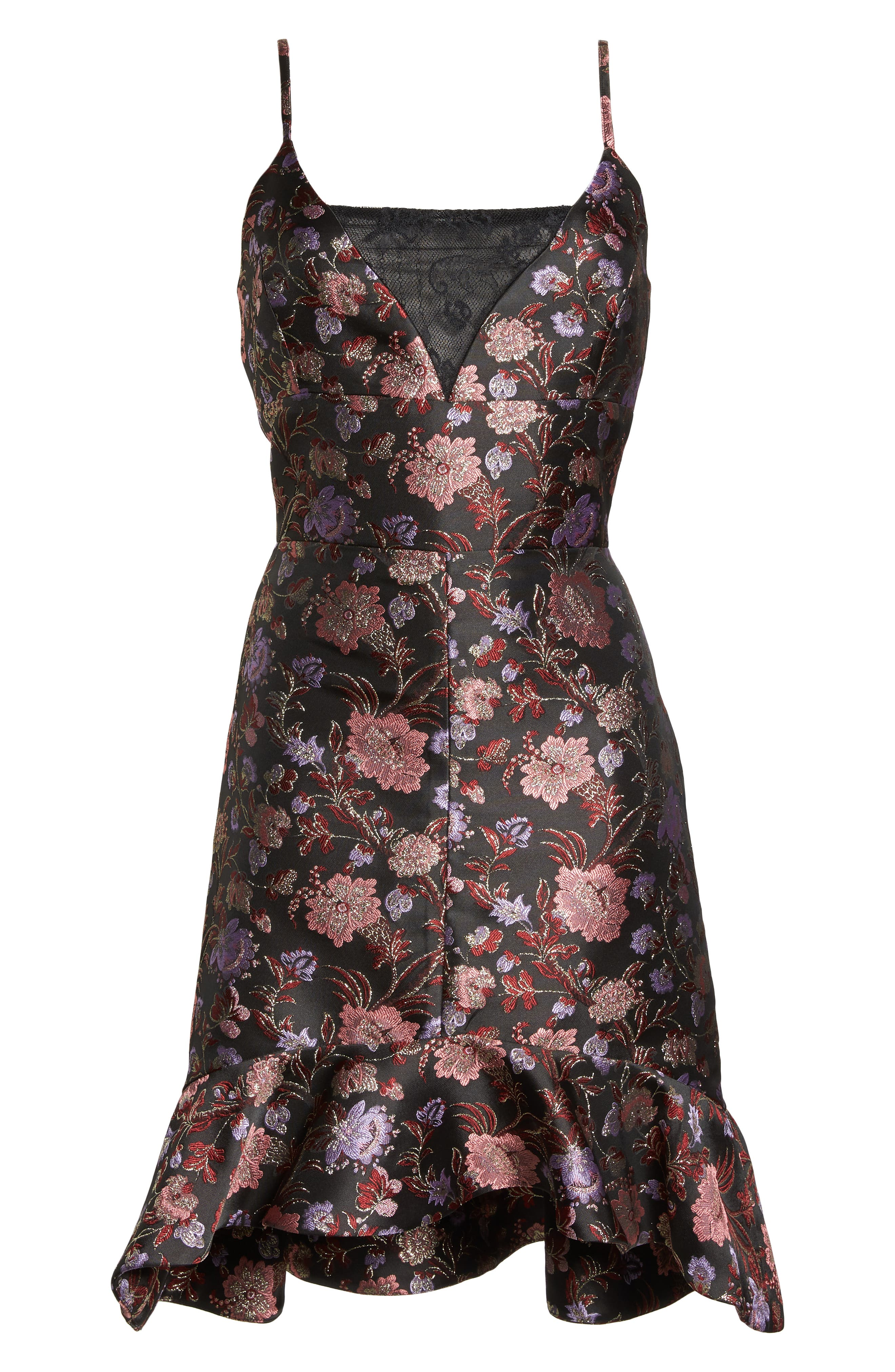 Metallic Jacquard Ruffle Hem Dress,                             Alternate thumbnail 7, color,                             BLACK / PINK COMBO