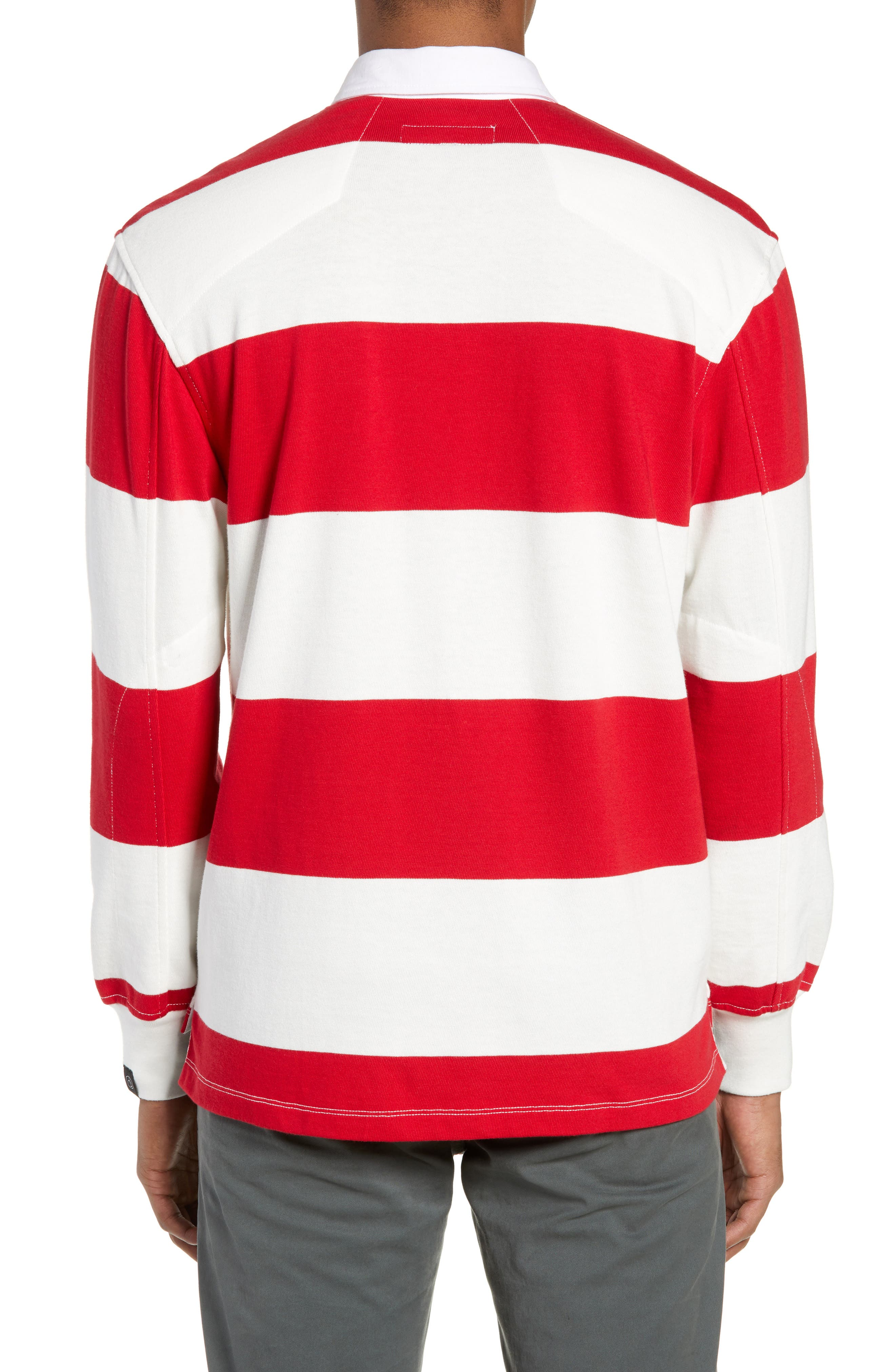 Regular Fit Rugby Shirt,                             Alternate thumbnail 2, color,                             RED/ IVORY