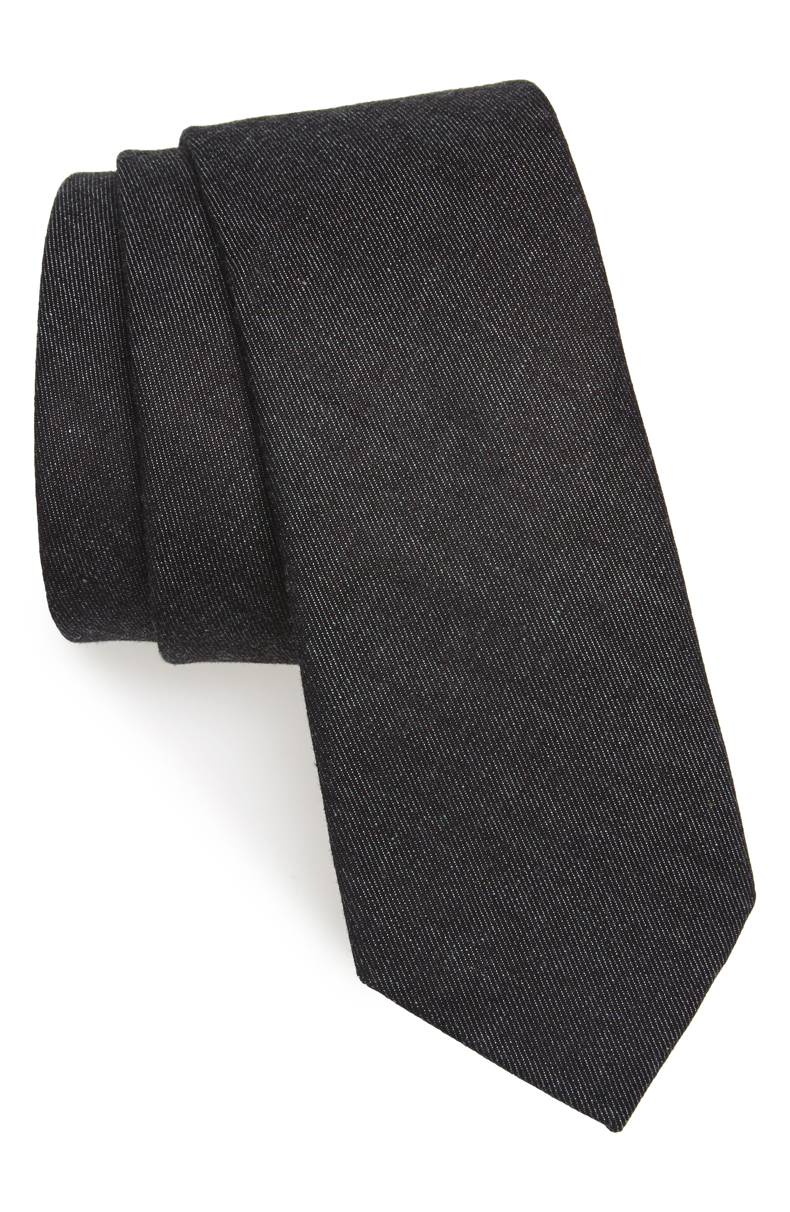 Bartlett Solid Cotton Tie,                         Main,                         color, 001