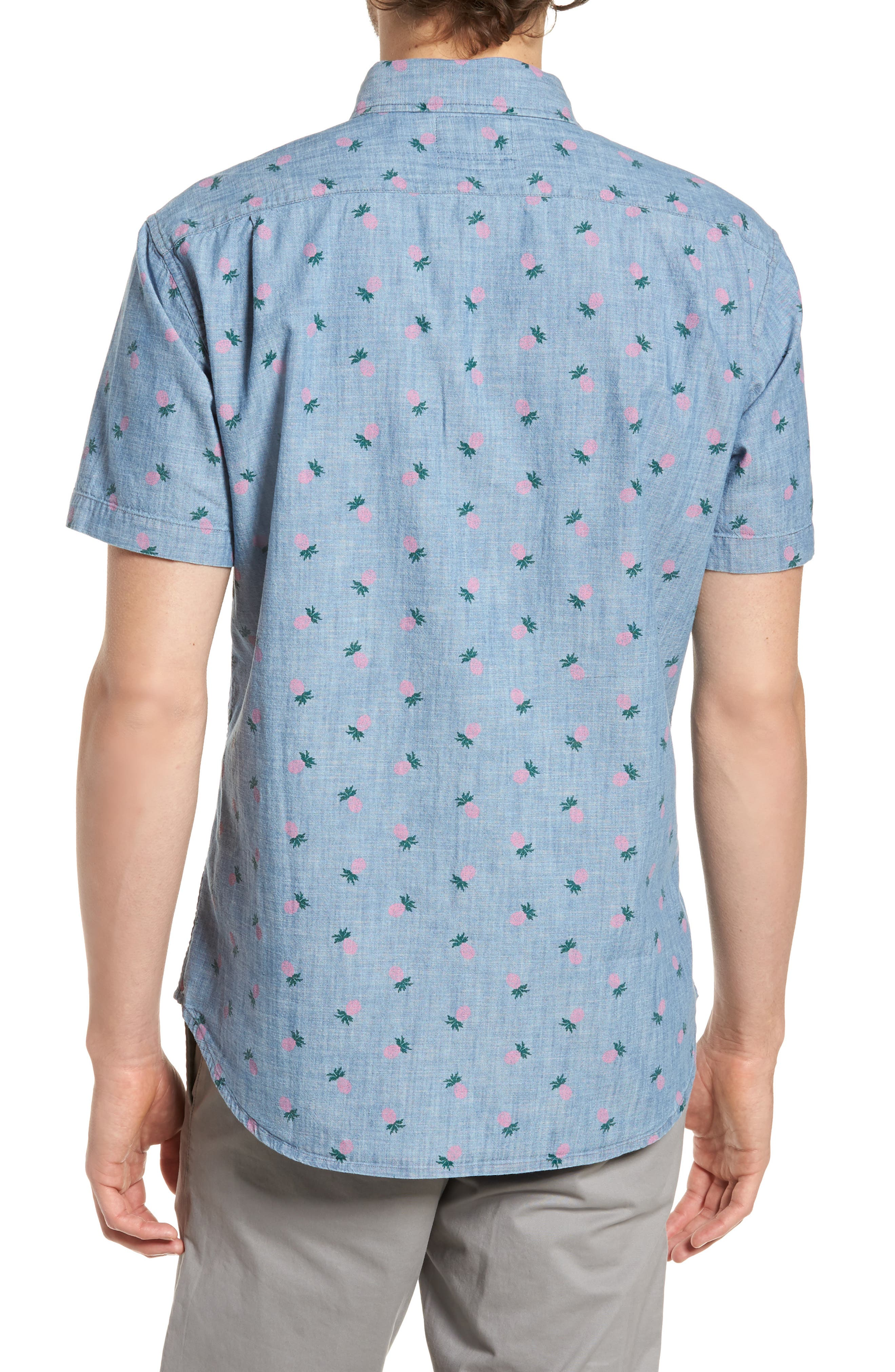 Slim Fit Print Short Sleeve Sport Shirt,                             Alternate thumbnail 2, color,                             400