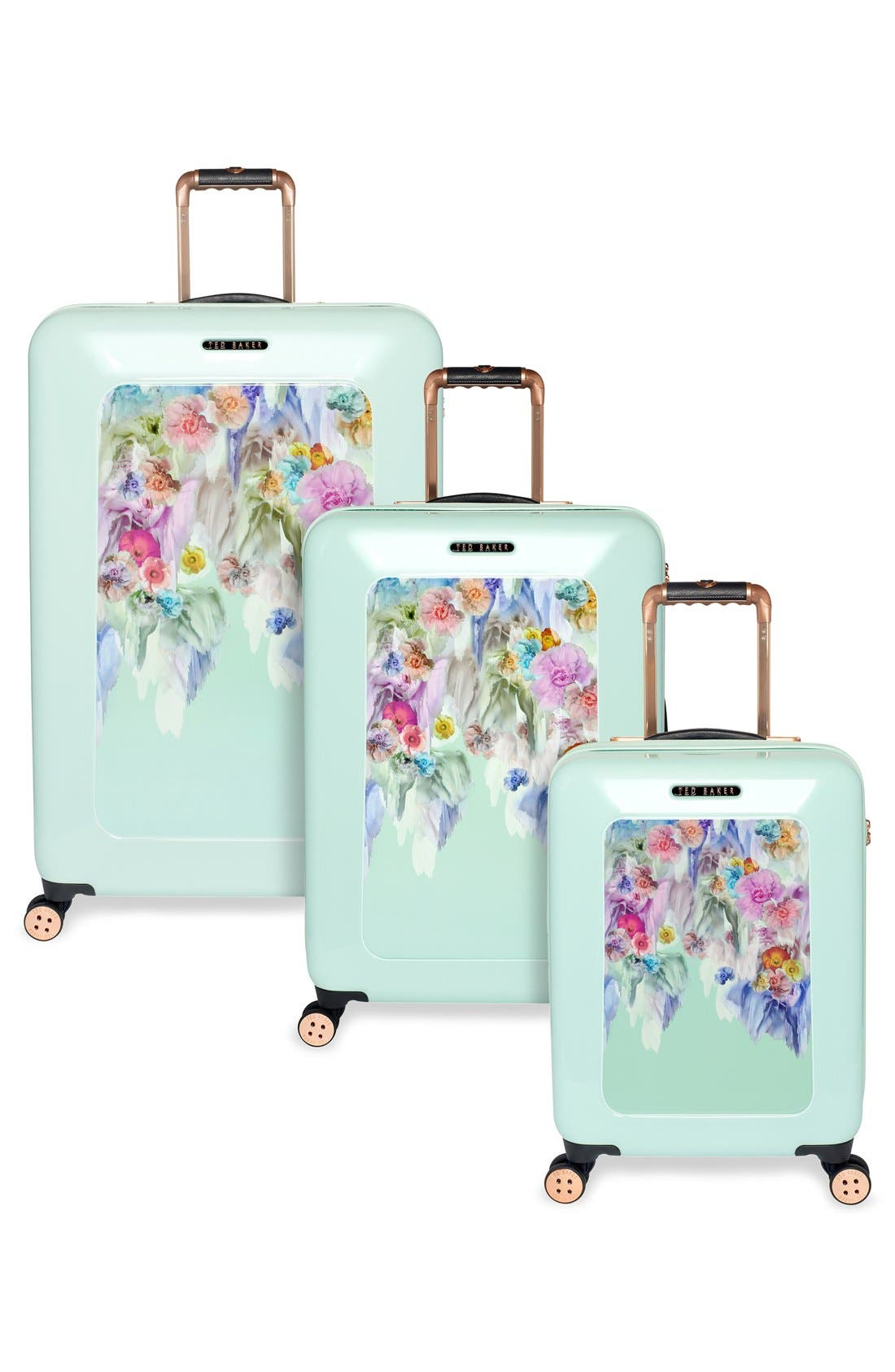 'Medium Sugar Sweet Florals' Hard Shell Suitcase,                             Alternate thumbnail 3, color,                             440