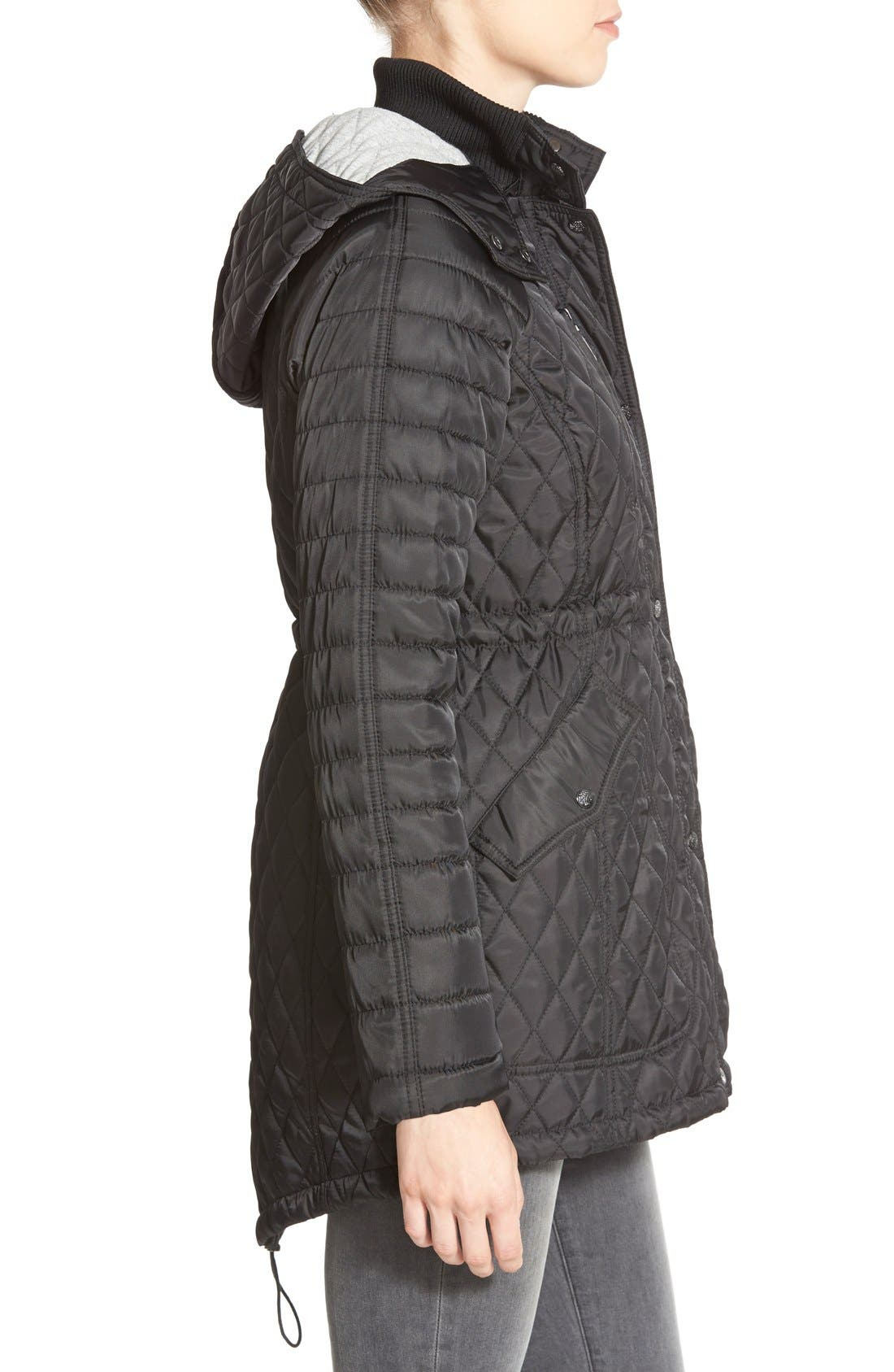 DetachableHood Quilted Anorak,                             Alternate thumbnail 3, color,                             001