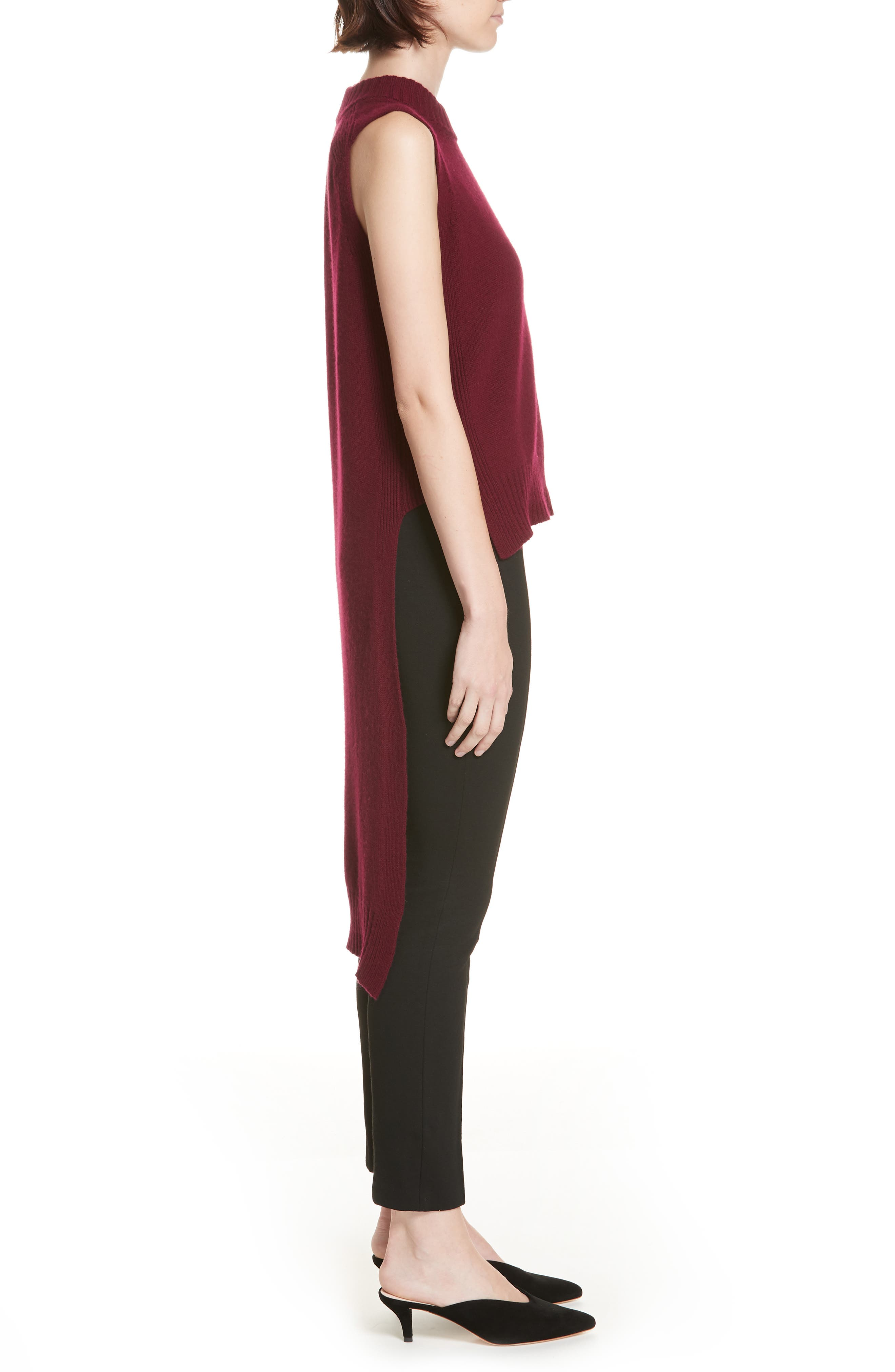 High/Low Wool & Cashmere Sweater,                             Alternate thumbnail 3, color,                             MAROON
