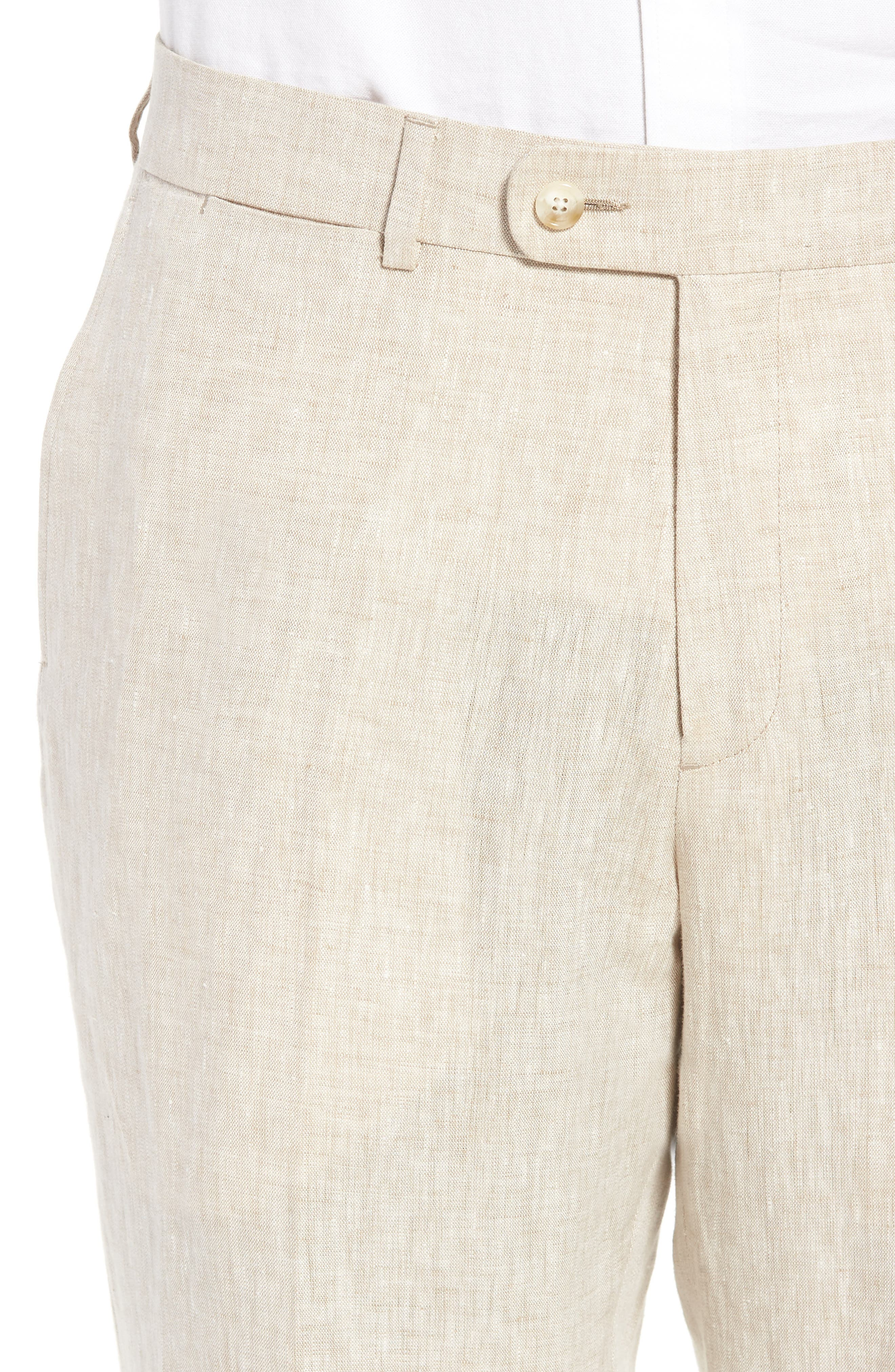 Andrew AIM Flat Front Linen Trousers,                             Alternate thumbnail 4, color,                             105