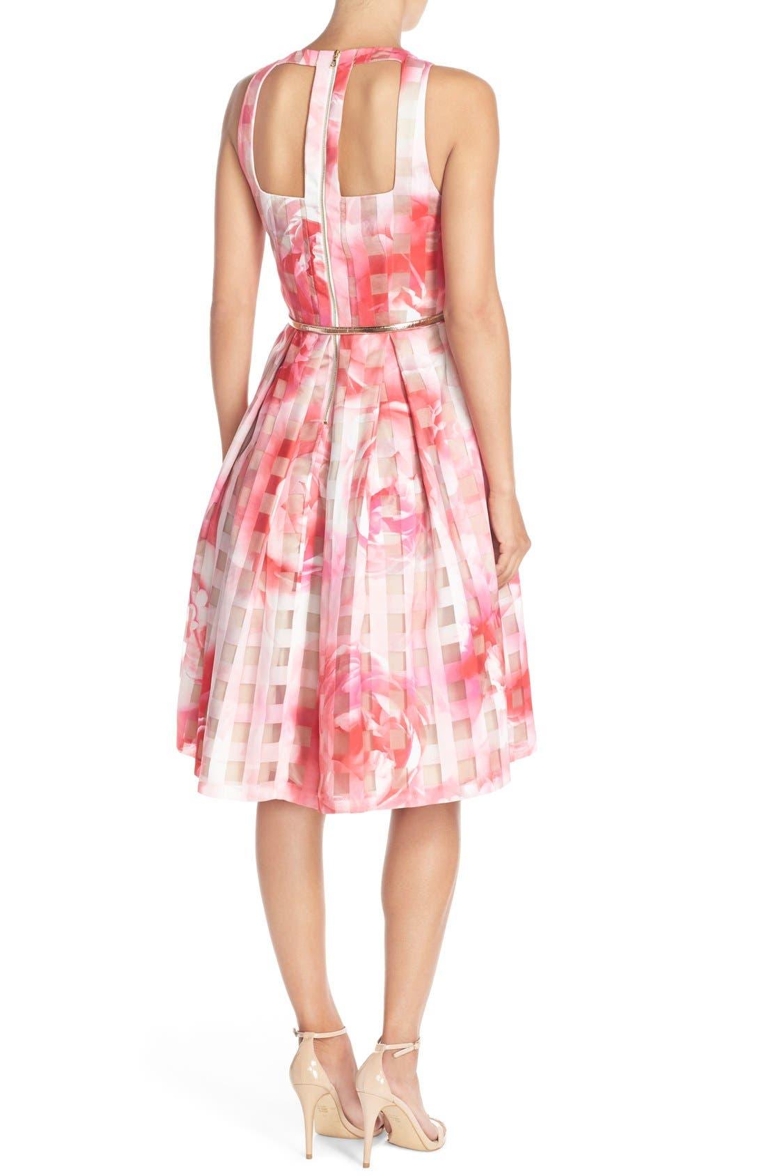 Floral Organza Fit & Flare Dress,                             Alternate thumbnail 2, color,                             660