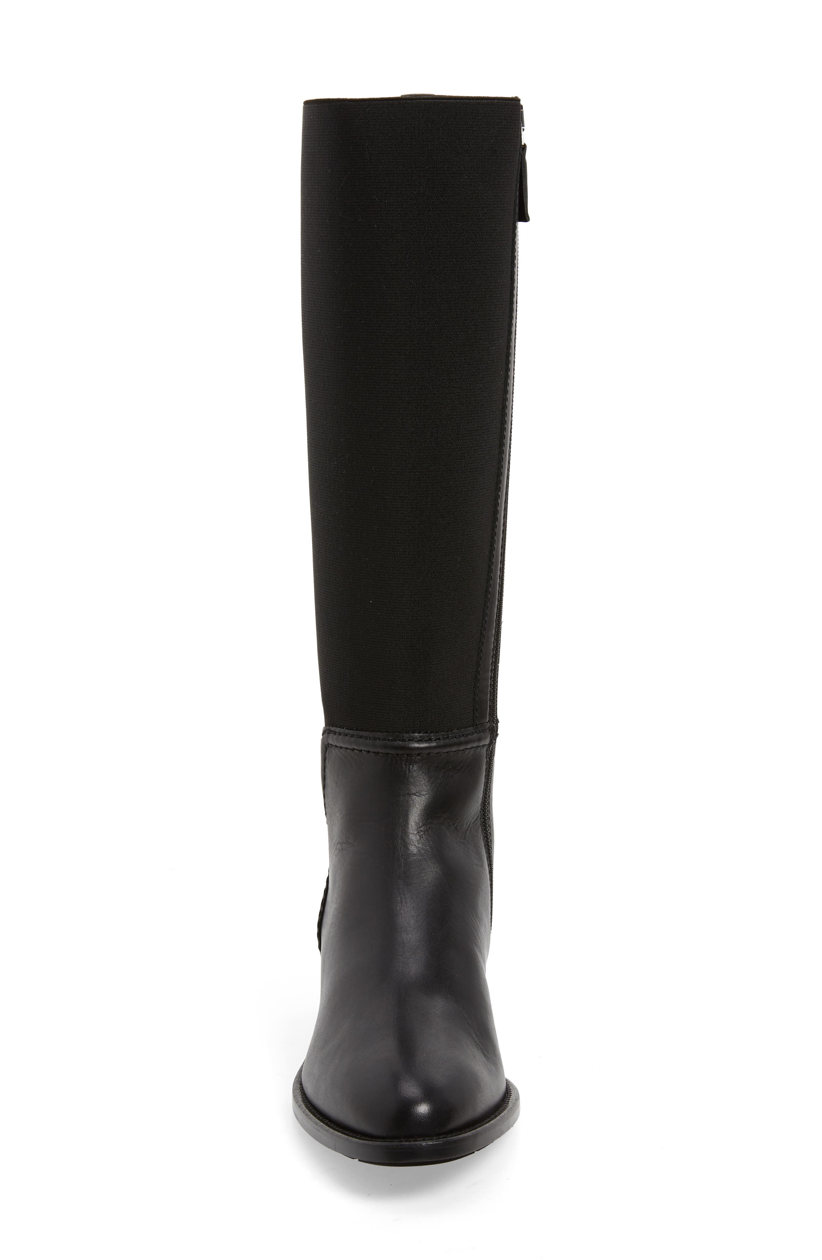 Nanina Water Resistant Riding Boot,                             Alternate thumbnail 4, color,                             BLACK
