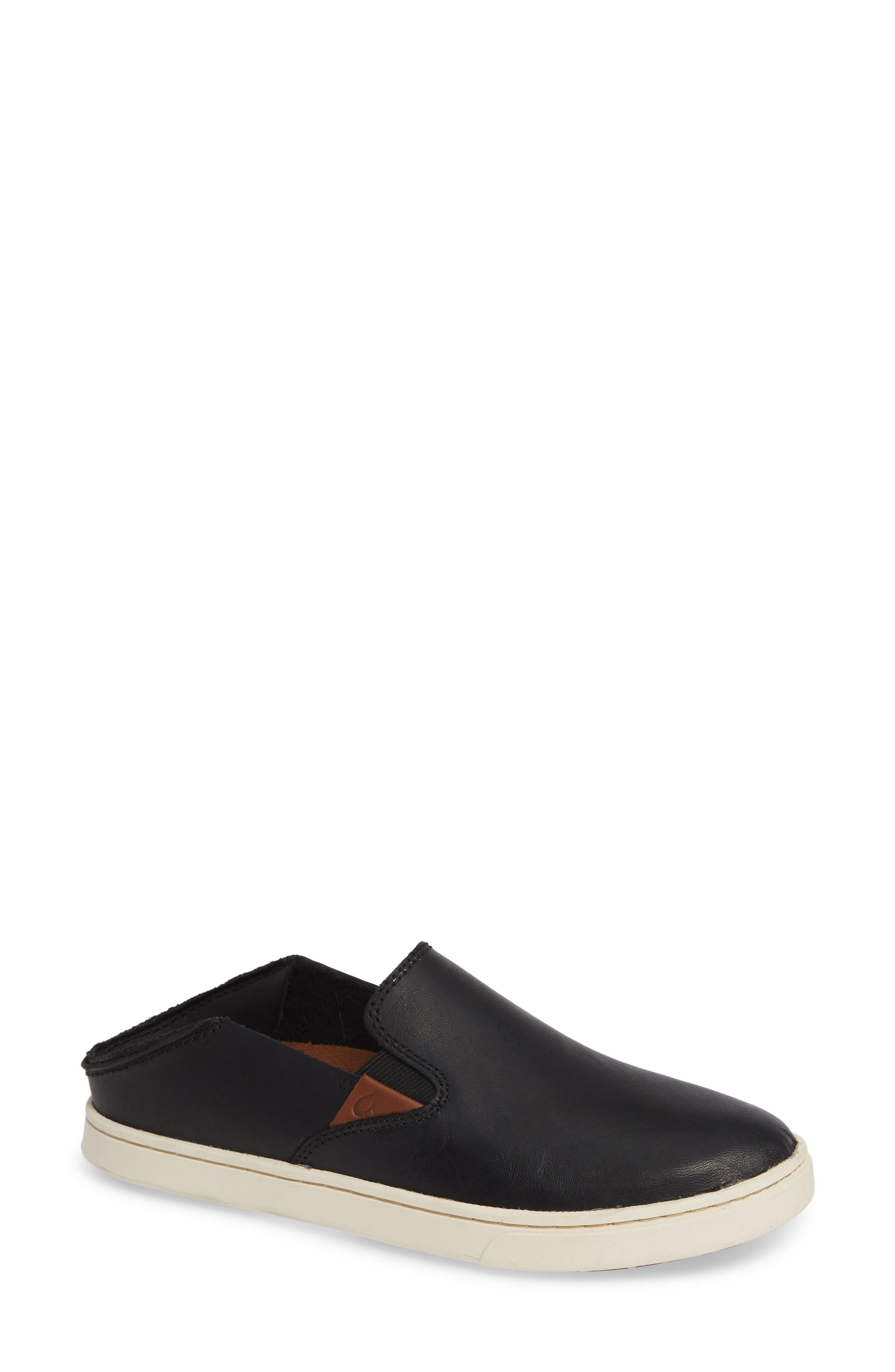 Pehuea Slip-On Sneaker,                             Main thumbnail 1, color,                             BLACK/ BLACK LEATHER