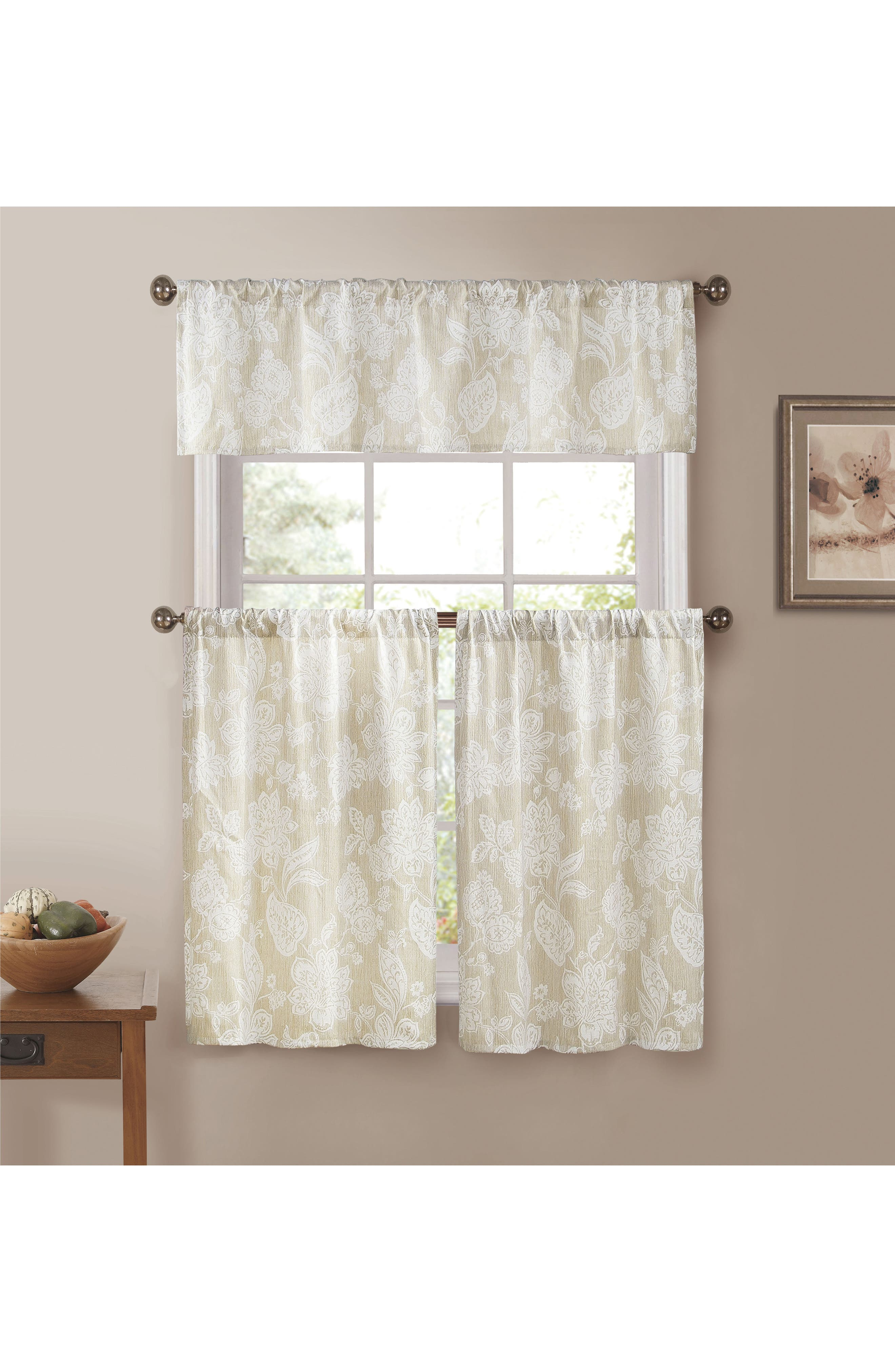 Ewva Set of 3 Tiered Jacquard Small Pole Top Window Panels,                         Main,                         color, 250
