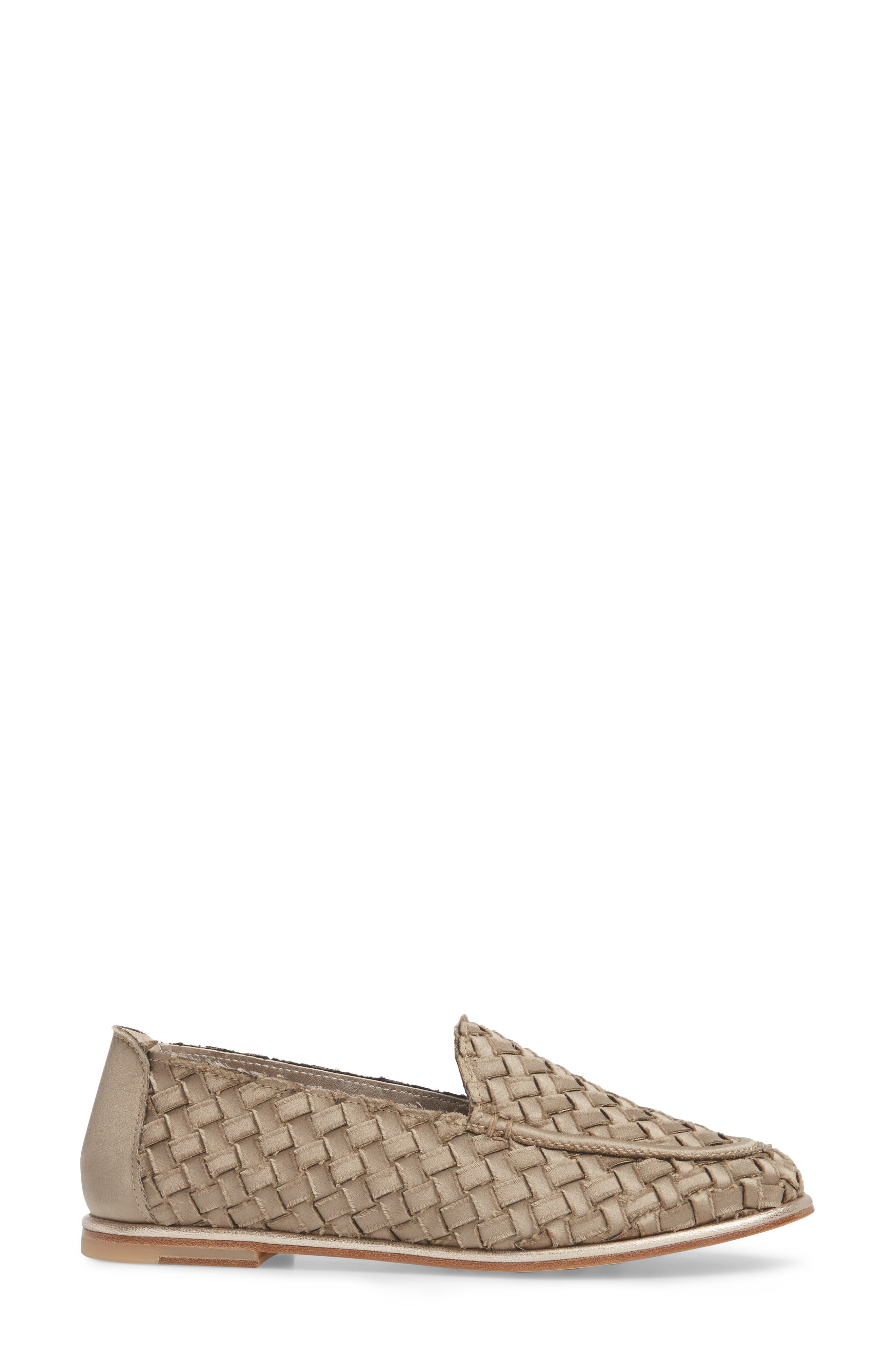 Woven Loafer,                             Alternate thumbnail 3, color,                             TAUPE SATIN