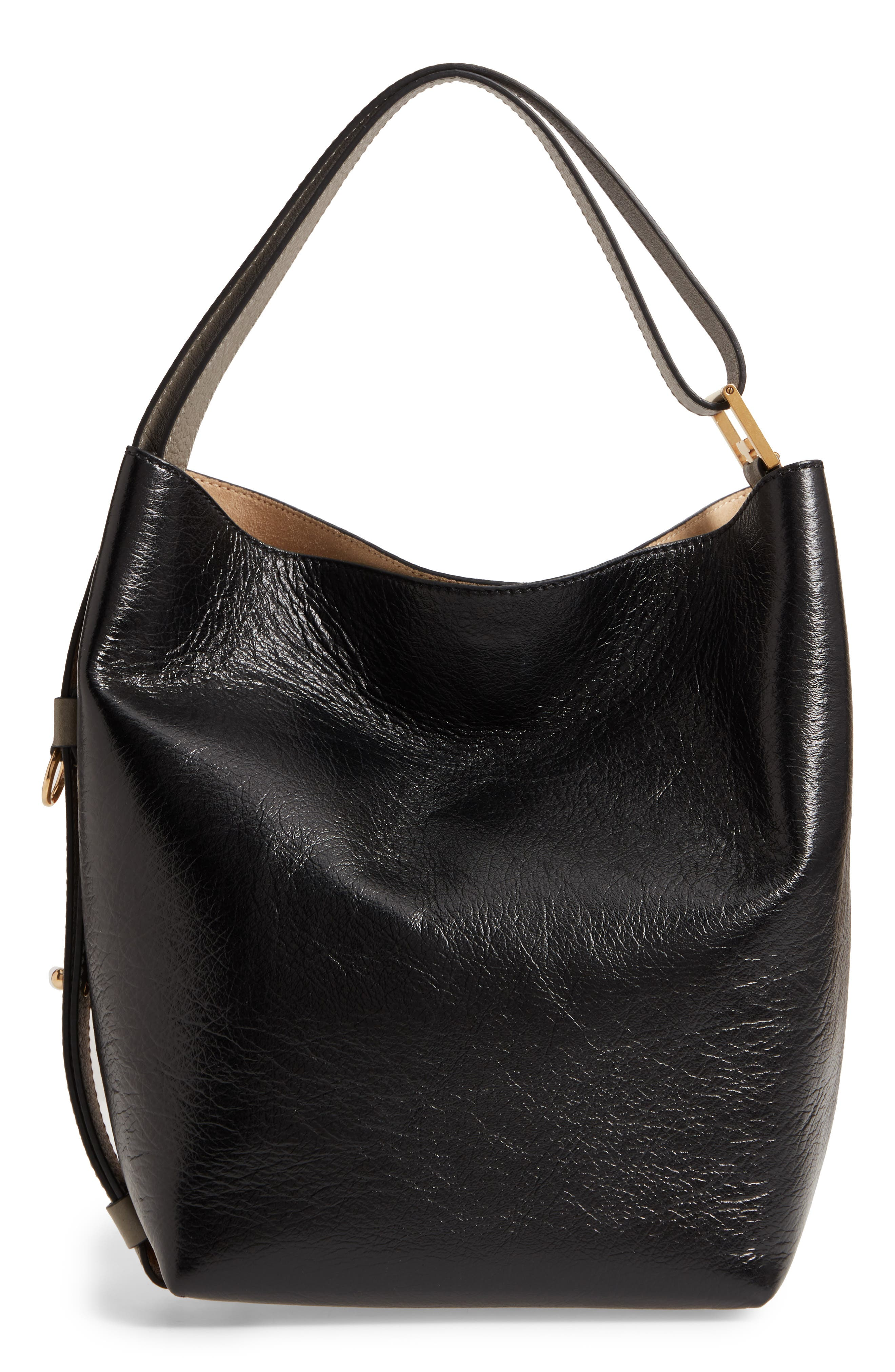 Medium GV Lambskin Bucket Bag,                             Alternate thumbnail 4, color,                             BLACK/ CHESTNUT