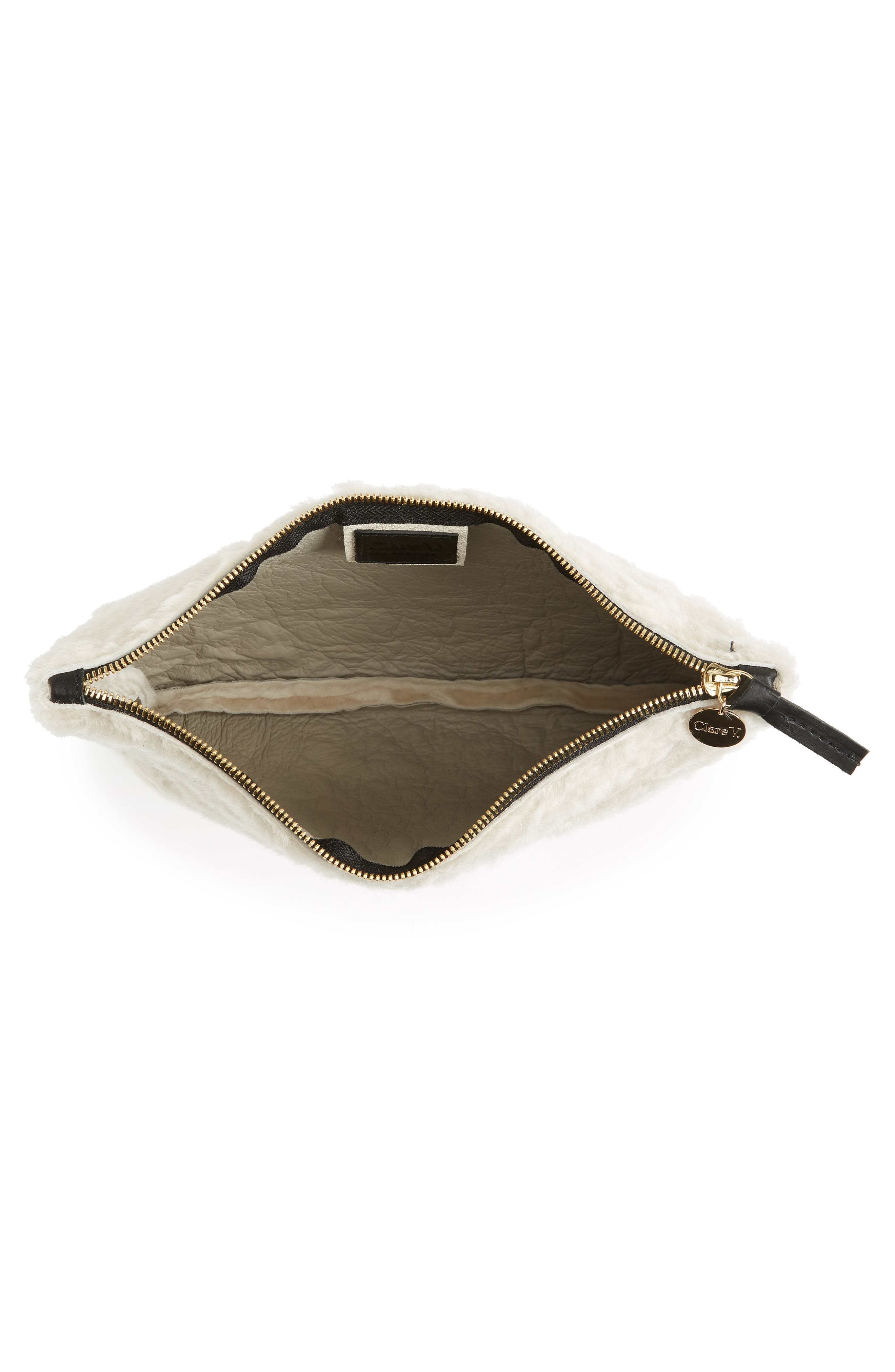 Genuine Shearling Flat Clutch,                             Alternate thumbnail 4, color,                             900
