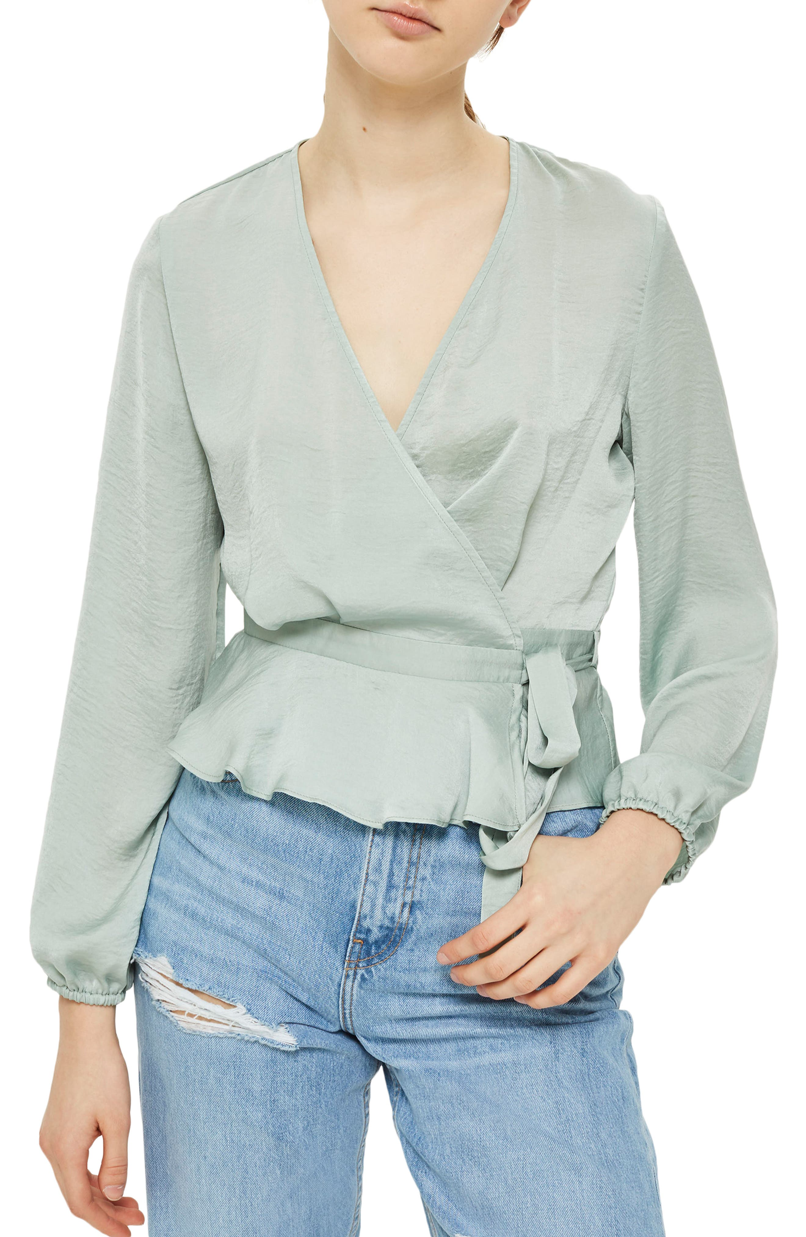 Satin Blouson Sleeve Wrap Blouse,                             Main thumbnail 1, color,                             330