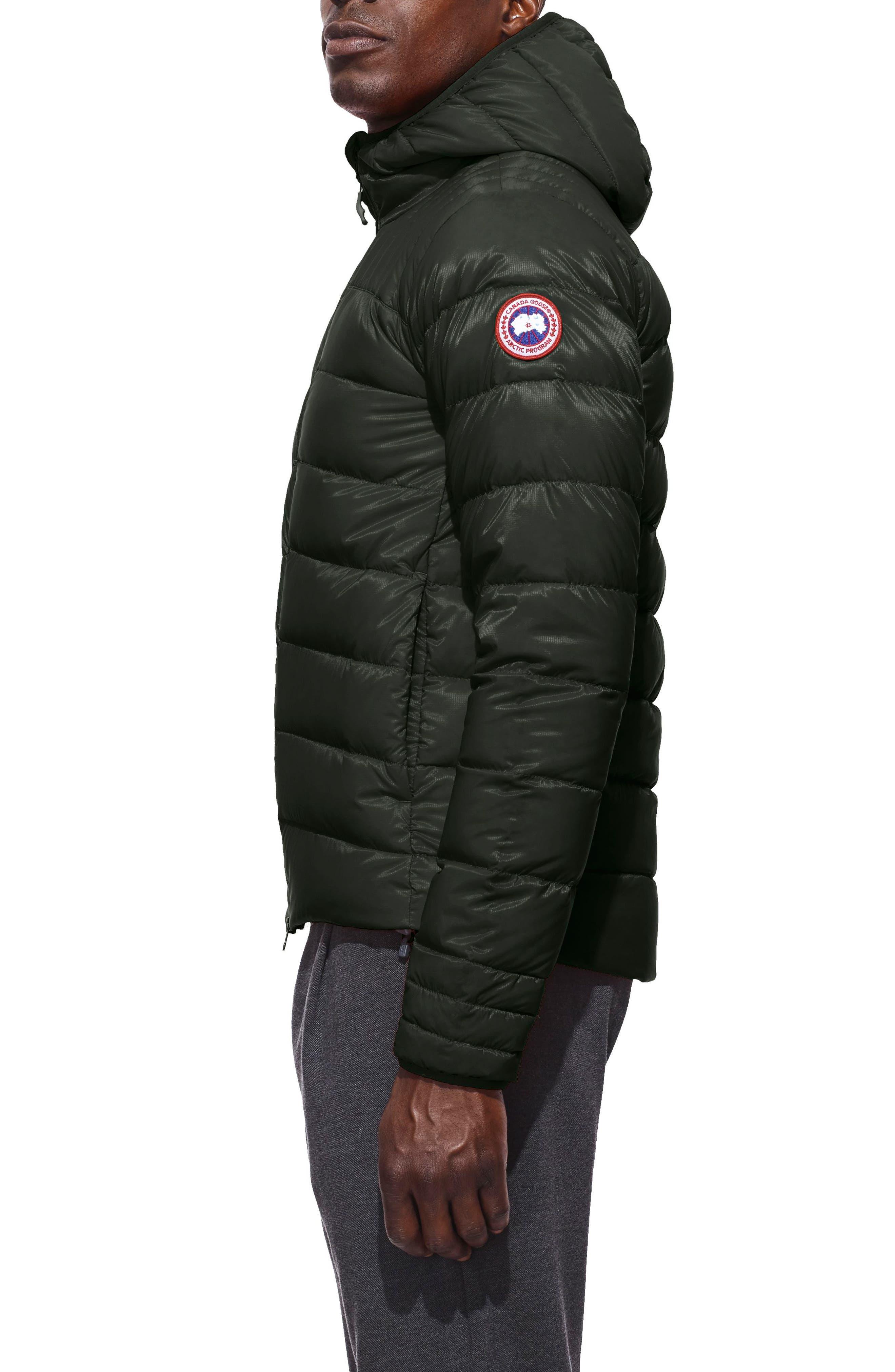 Brookvale Slim Fit Hooded Down Jacket,                             Alternate thumbnail 3, color,                             VOLCANO/ BLACK