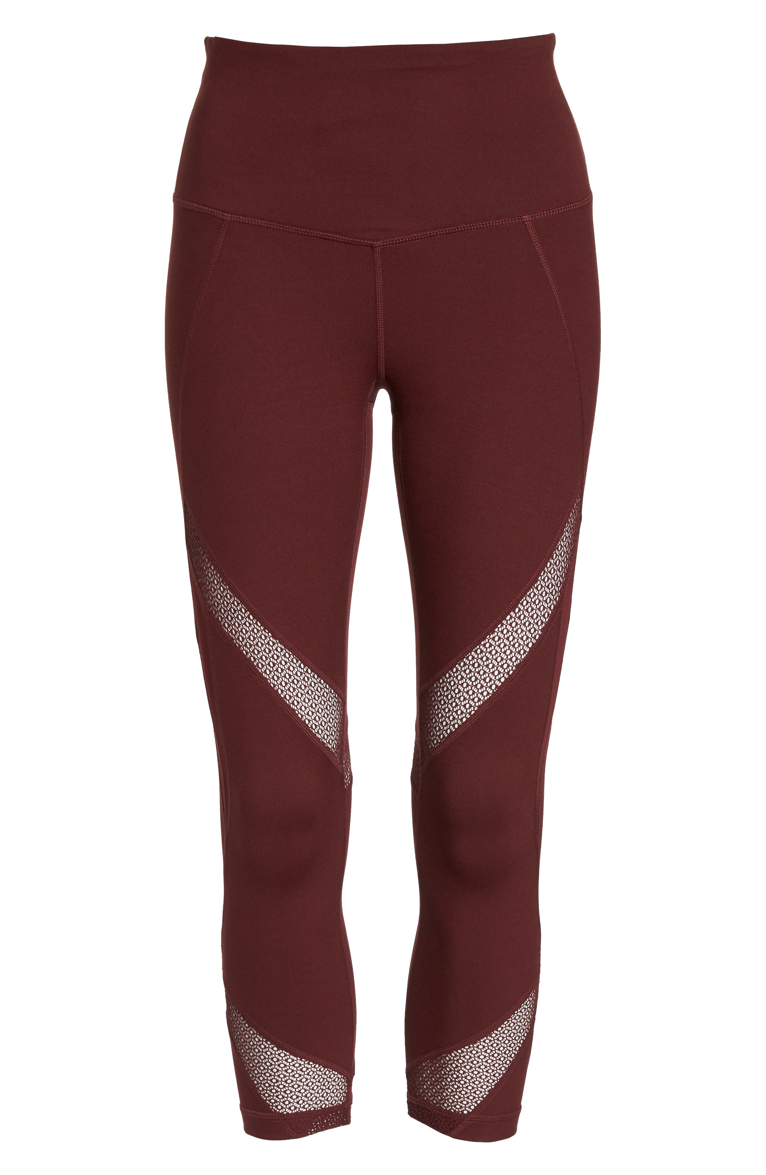 Moroccan High Waist Crop Leggings,                             Alternate thumbnail 7, color,                             RED TANNIN