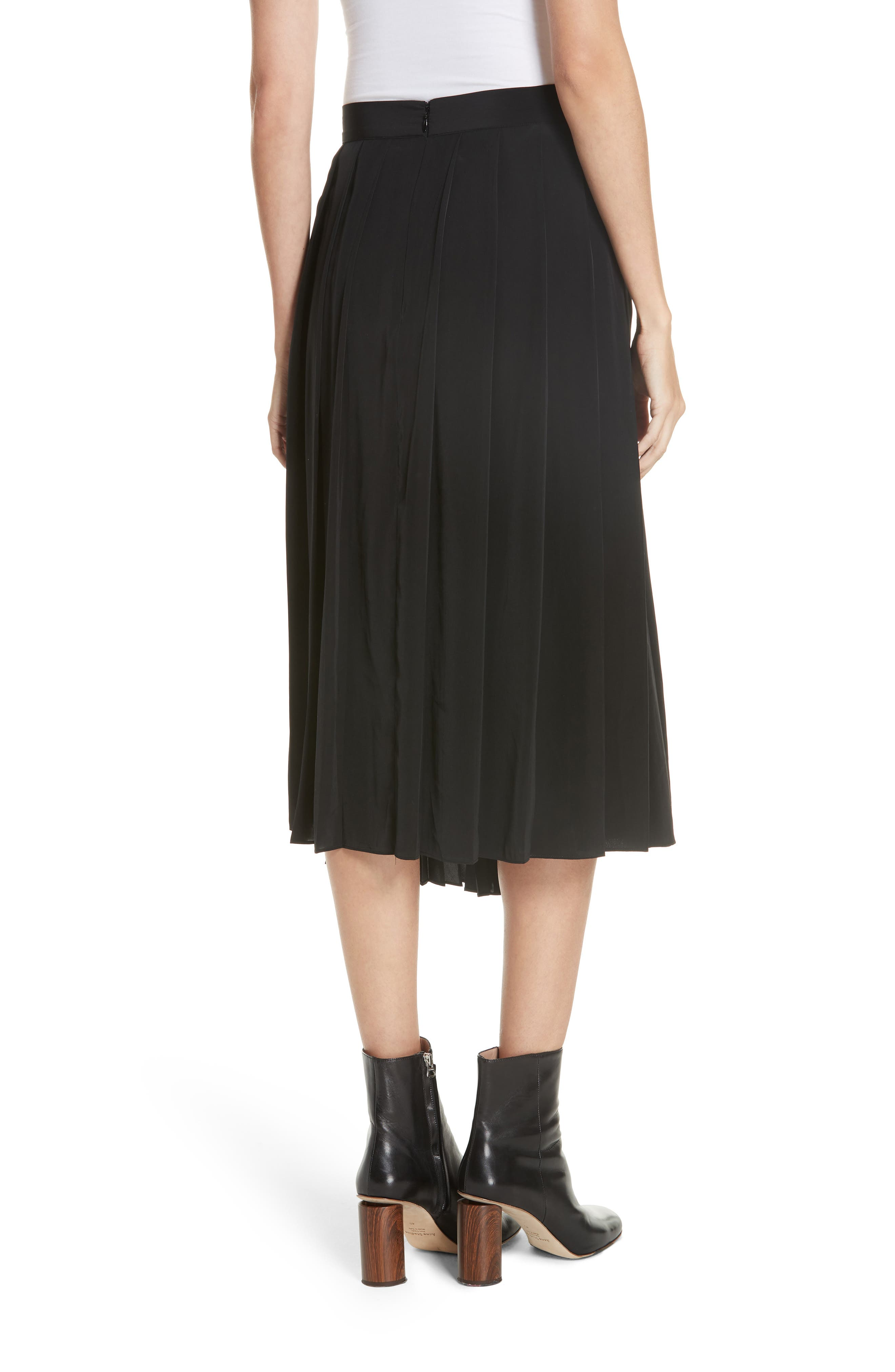 Asymmetrical Pleated Midi Skirt,                             Alternate thumbnail 2, color,                             BLACK