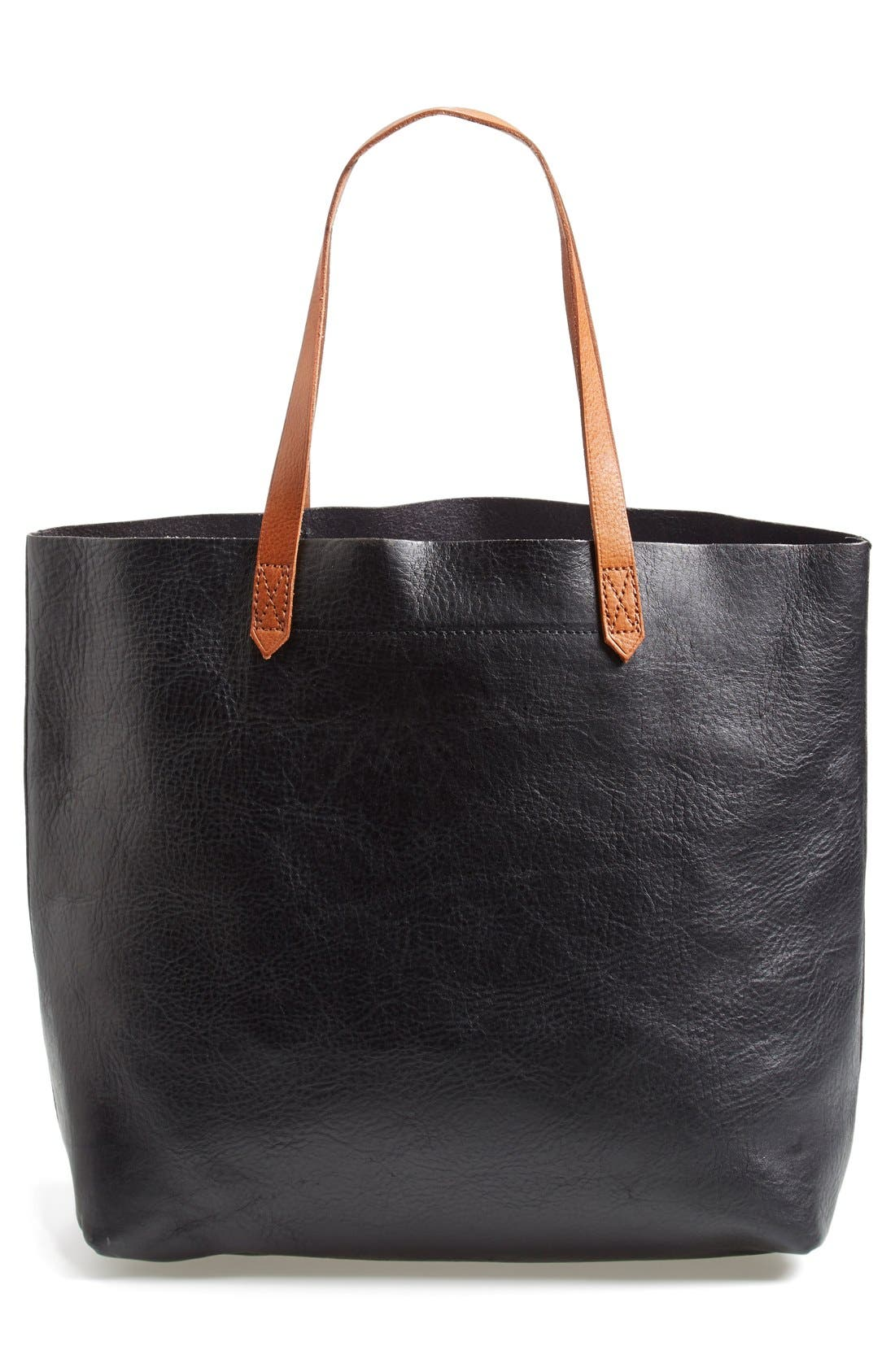 MADEWELL 'The Transport' Leather Tote, Main, color, TRUE BLACK