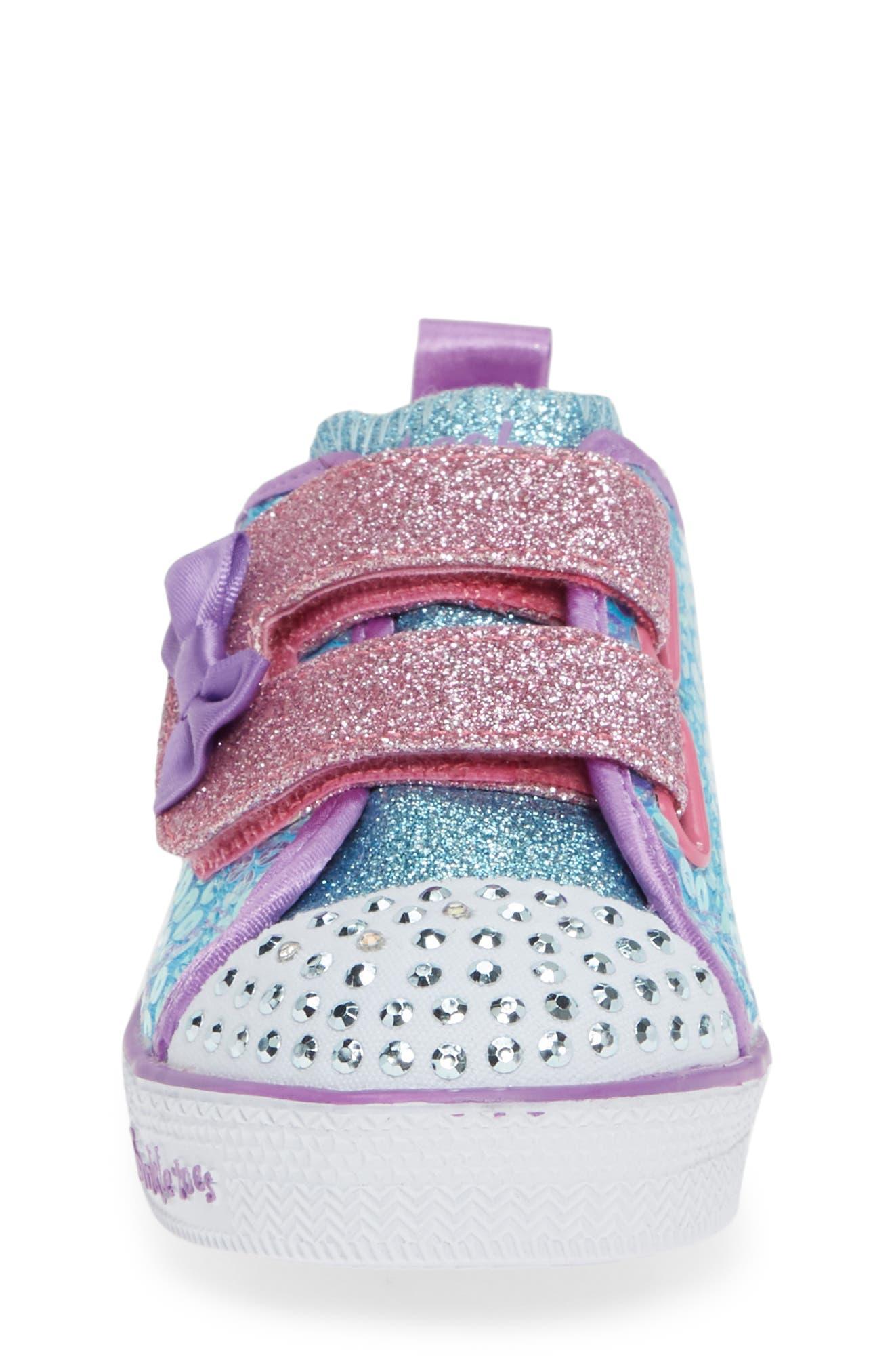 Shuffle Lite Glitter Sneaker,                             Alternate thumbnail 4, color,                             TURQUOISE/MULTI