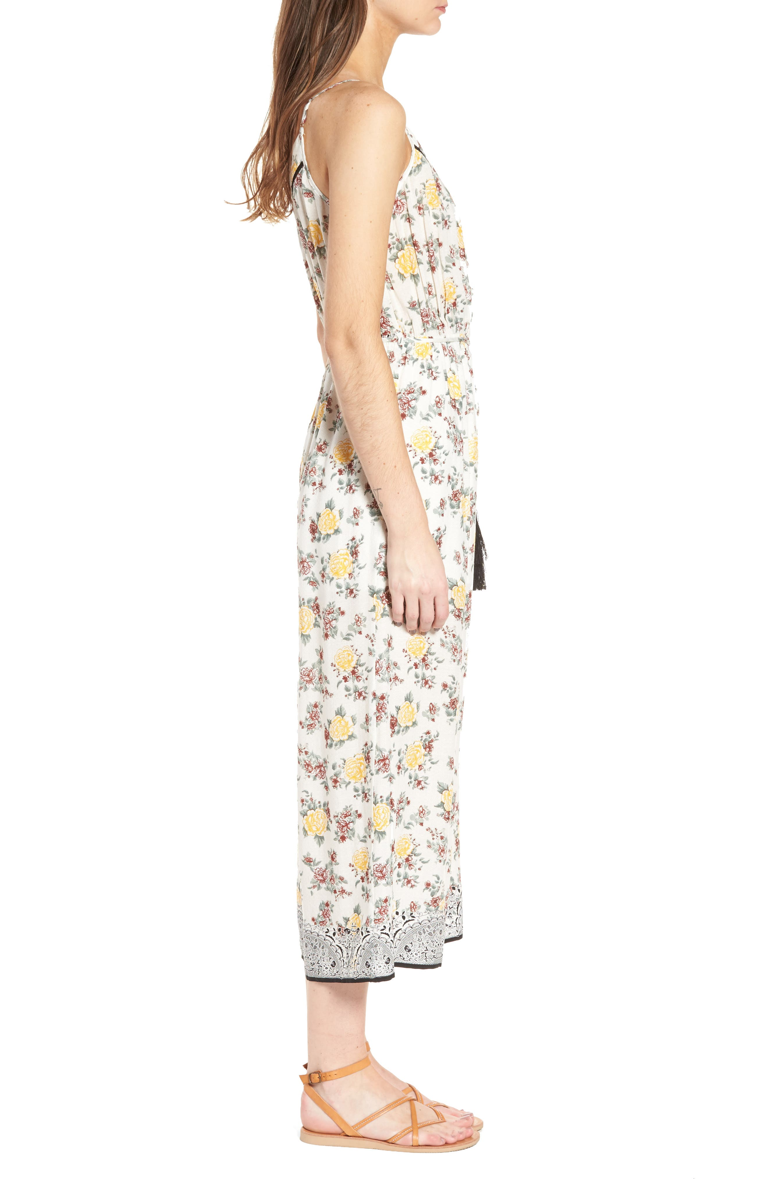 Floral Surplice Jumpsuit,                             Alternate thumbnail 3, color,