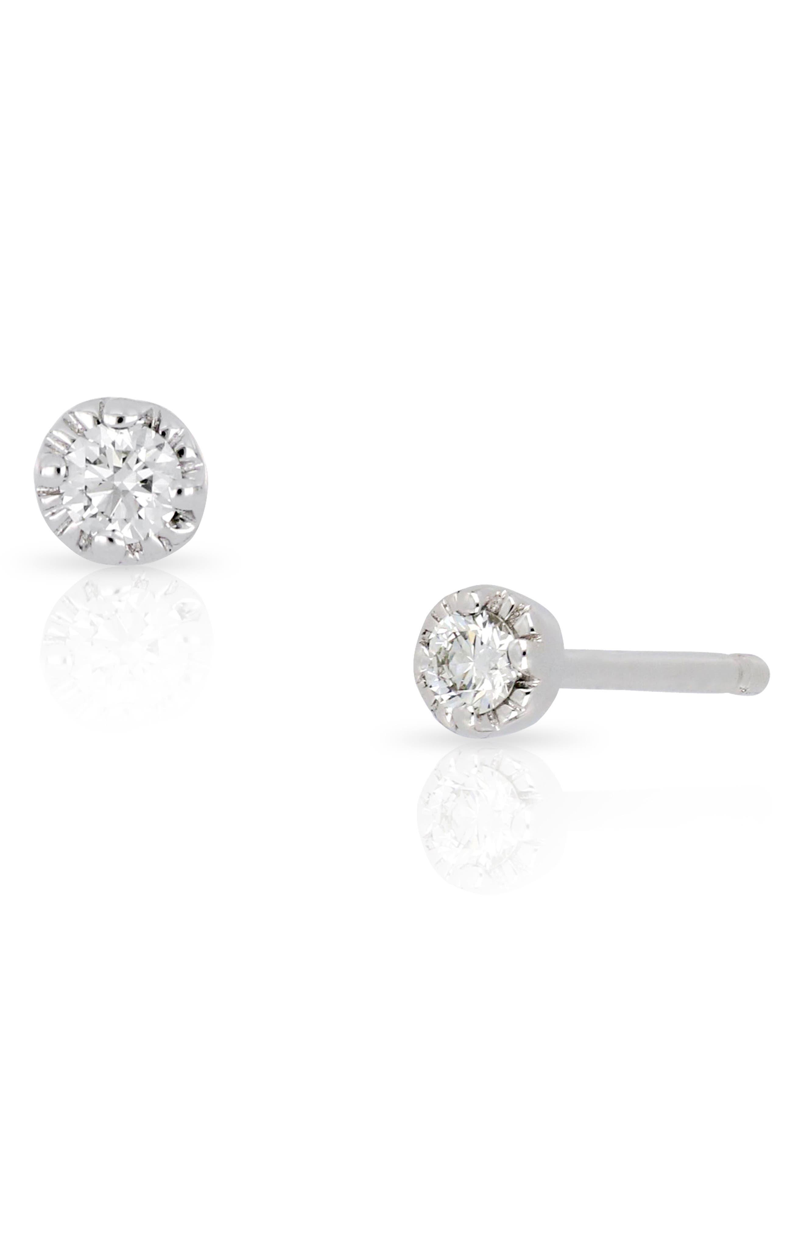 Mila Diamond Stud Earrings,                         Main,                         color, WHITE GOLD