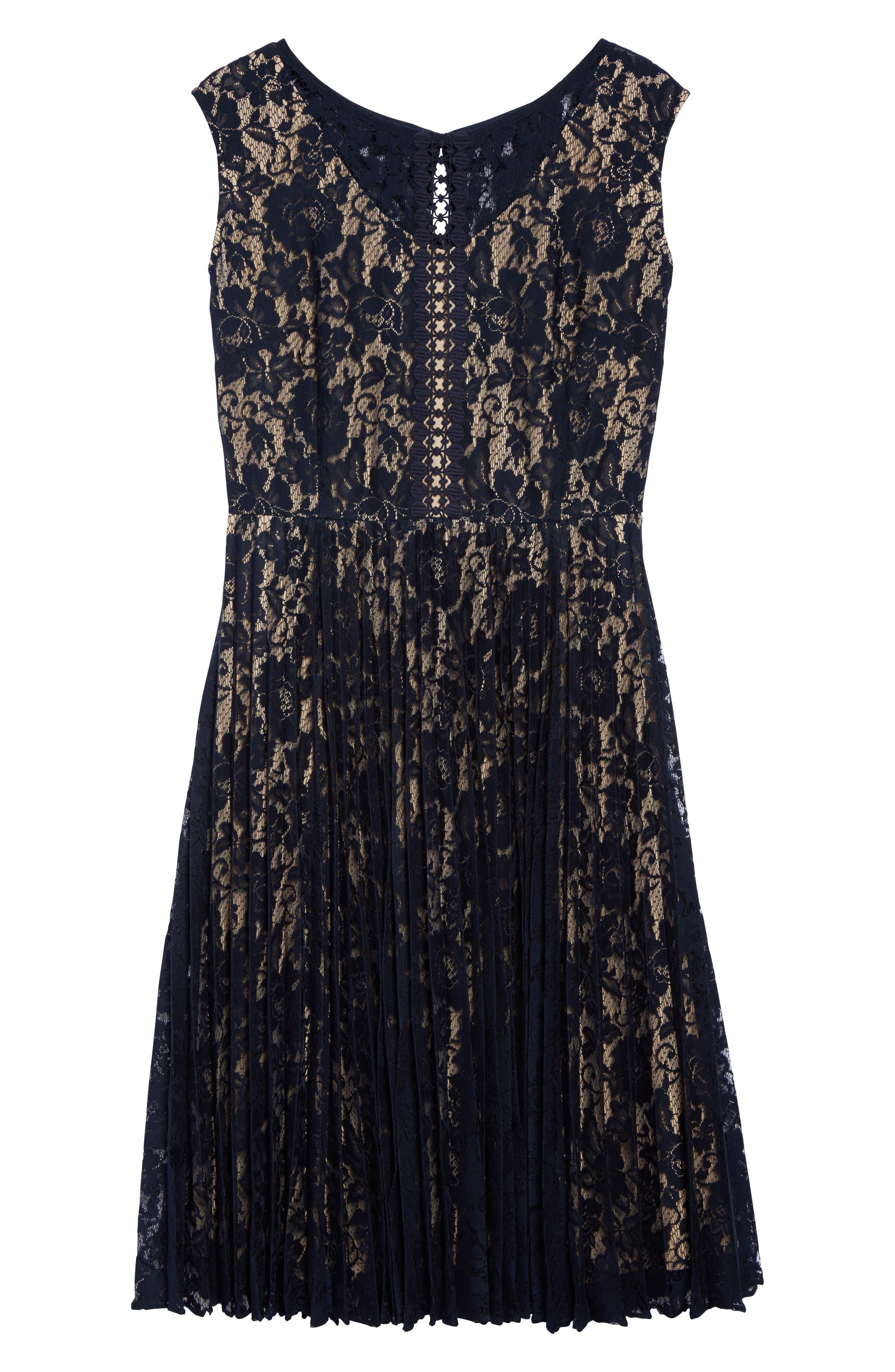 Illusion Lace Pleat Midi Dress,                             Alternate thumbnail 6, color,                             410