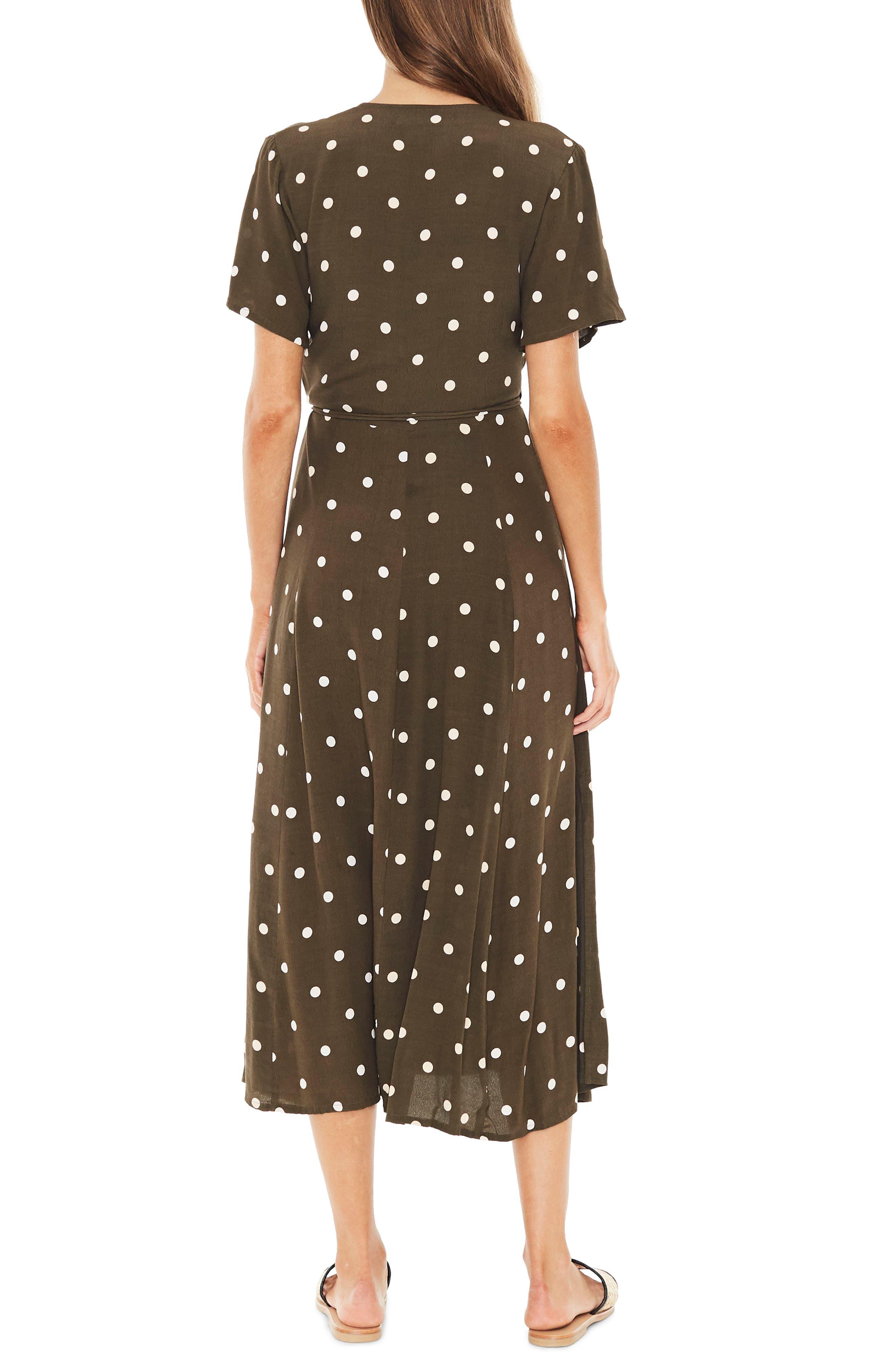 Leila Polka Dot Wrap Dress,                             Alternate thumbnail 2, color,