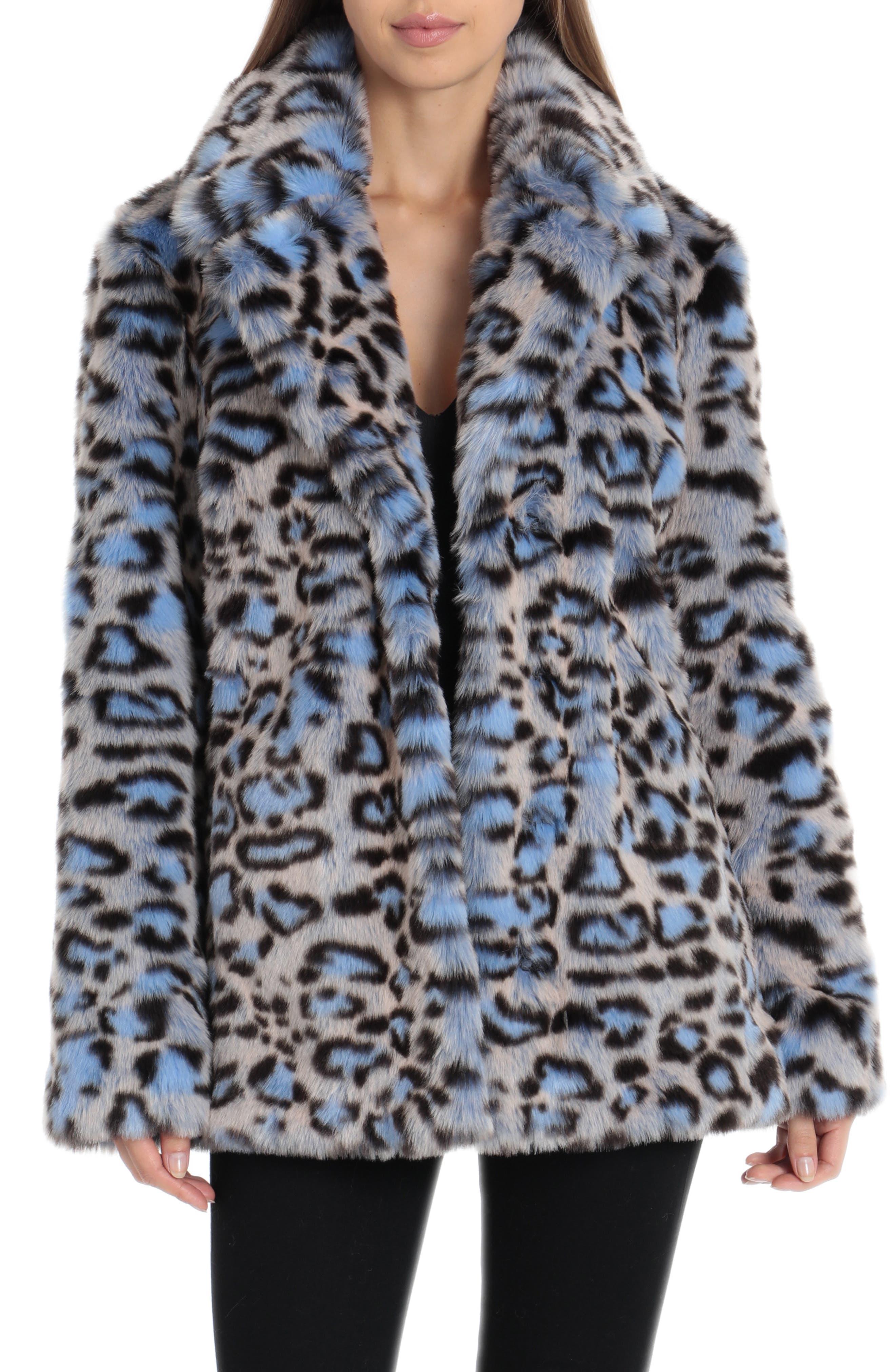 Animal Print Faux Fur Coat,                         Main,                         color, BLUE LEOPARD