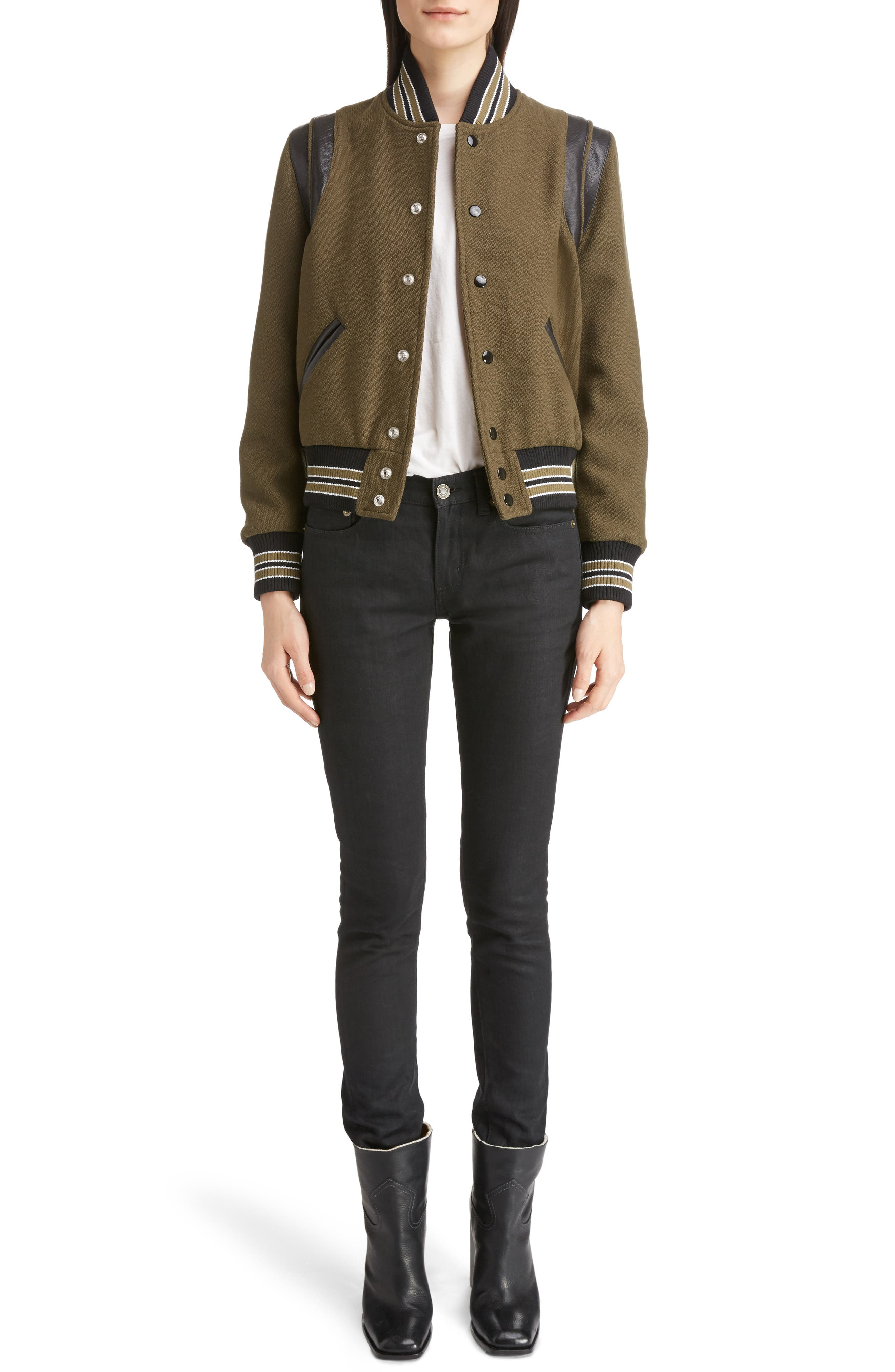 Leather Trim Classic Teddy Jacket,                             Alternate thumbnail 6, color,                             KHAKI/ BLACK