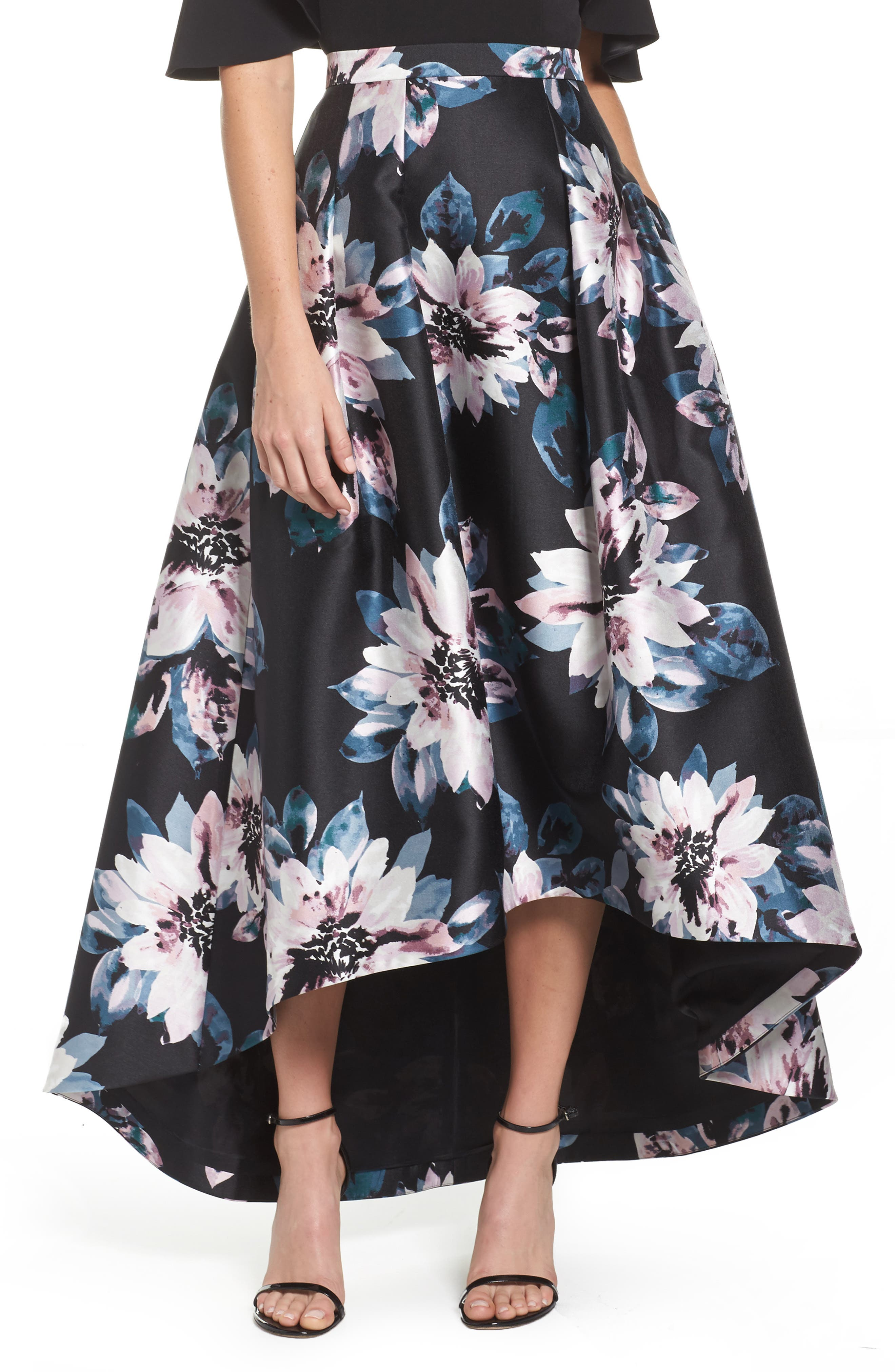 Floral High/Low Skirt,                             Main thumbnail 1, color,                             006