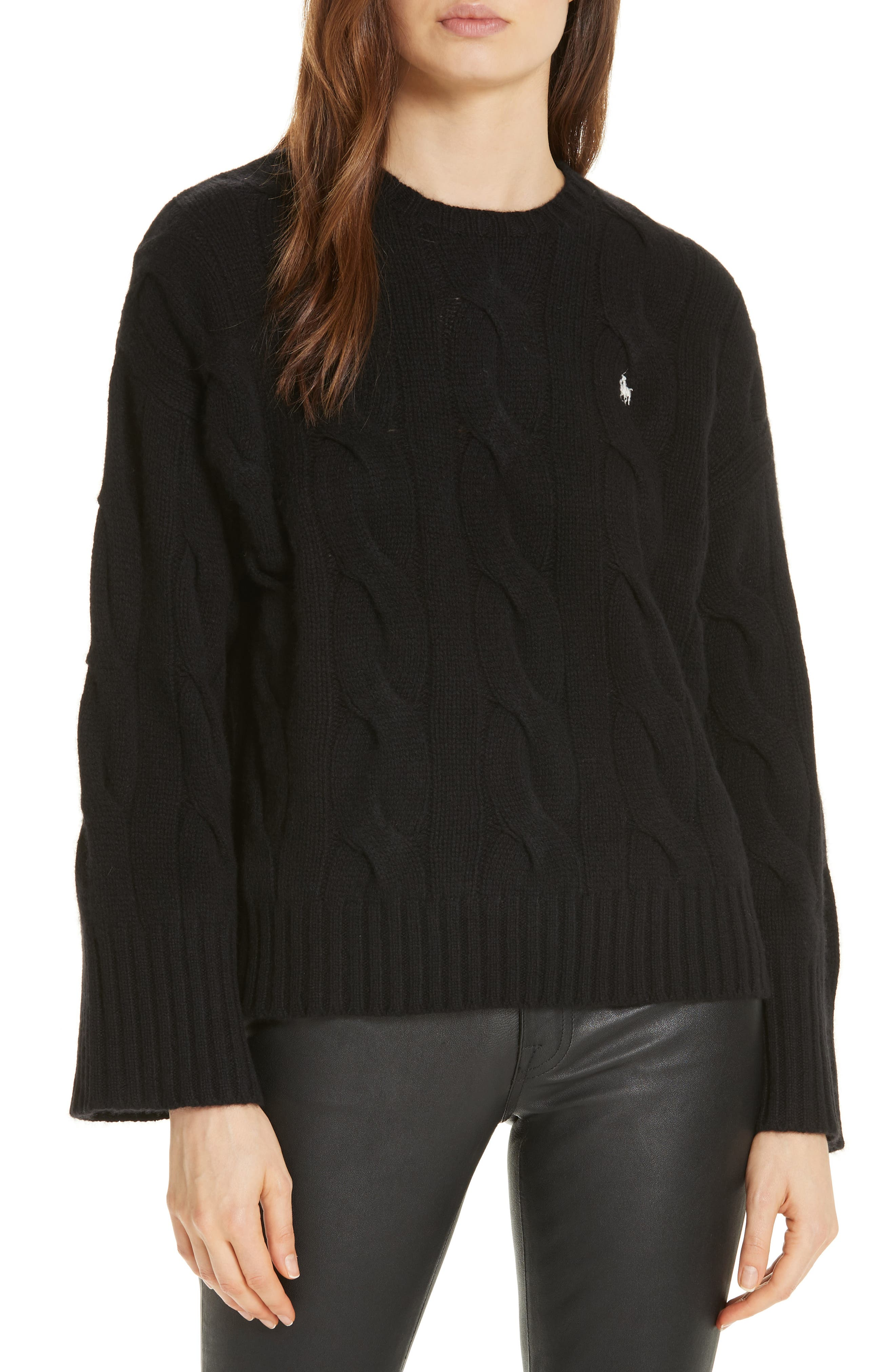 Dolman Sleeve Cable Knit Sweater,                             Main thumbnail 1, color,                             POLO BLACK