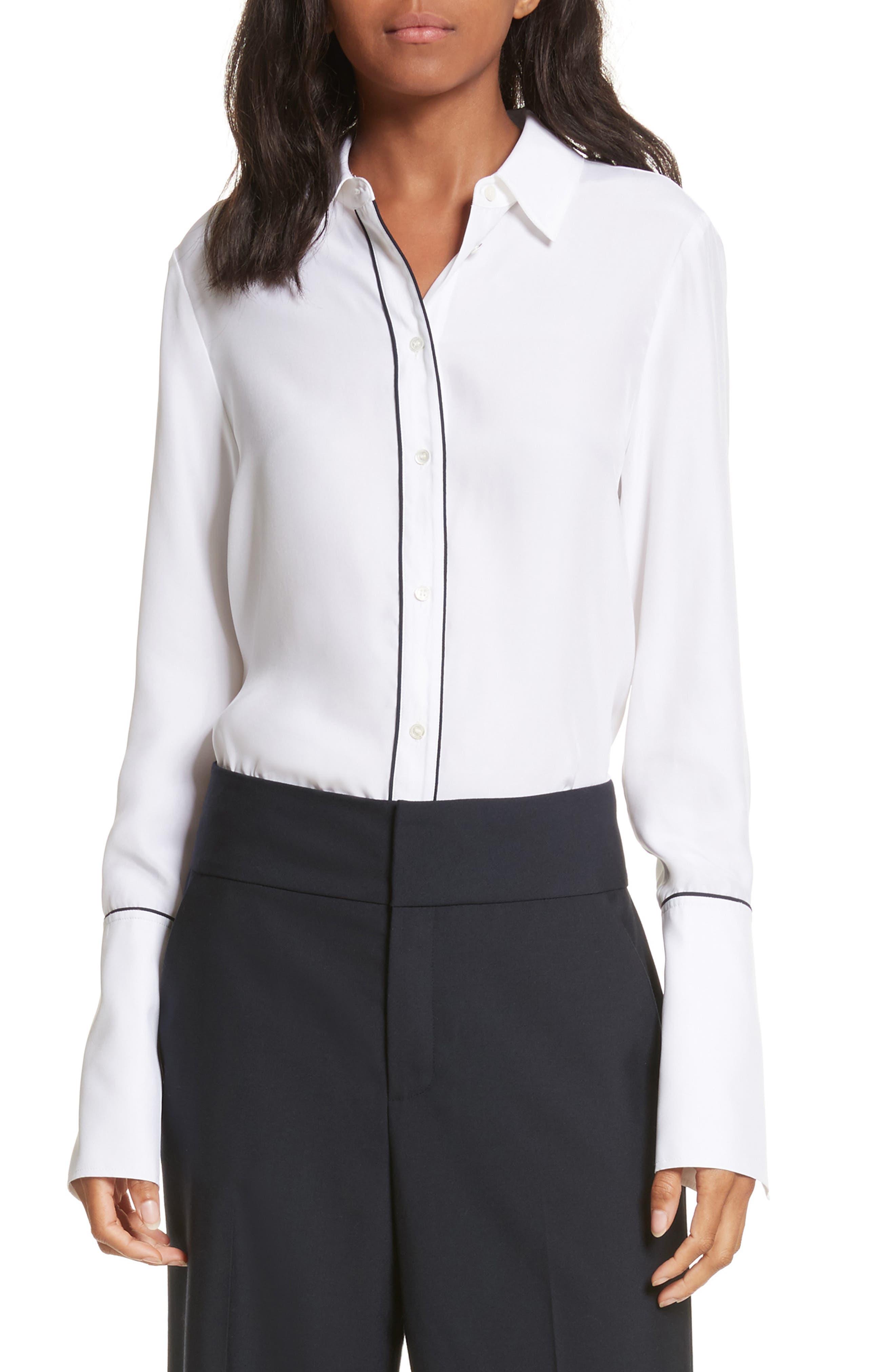Long Cuff Silk Shirt,                         Main,                         color, 120