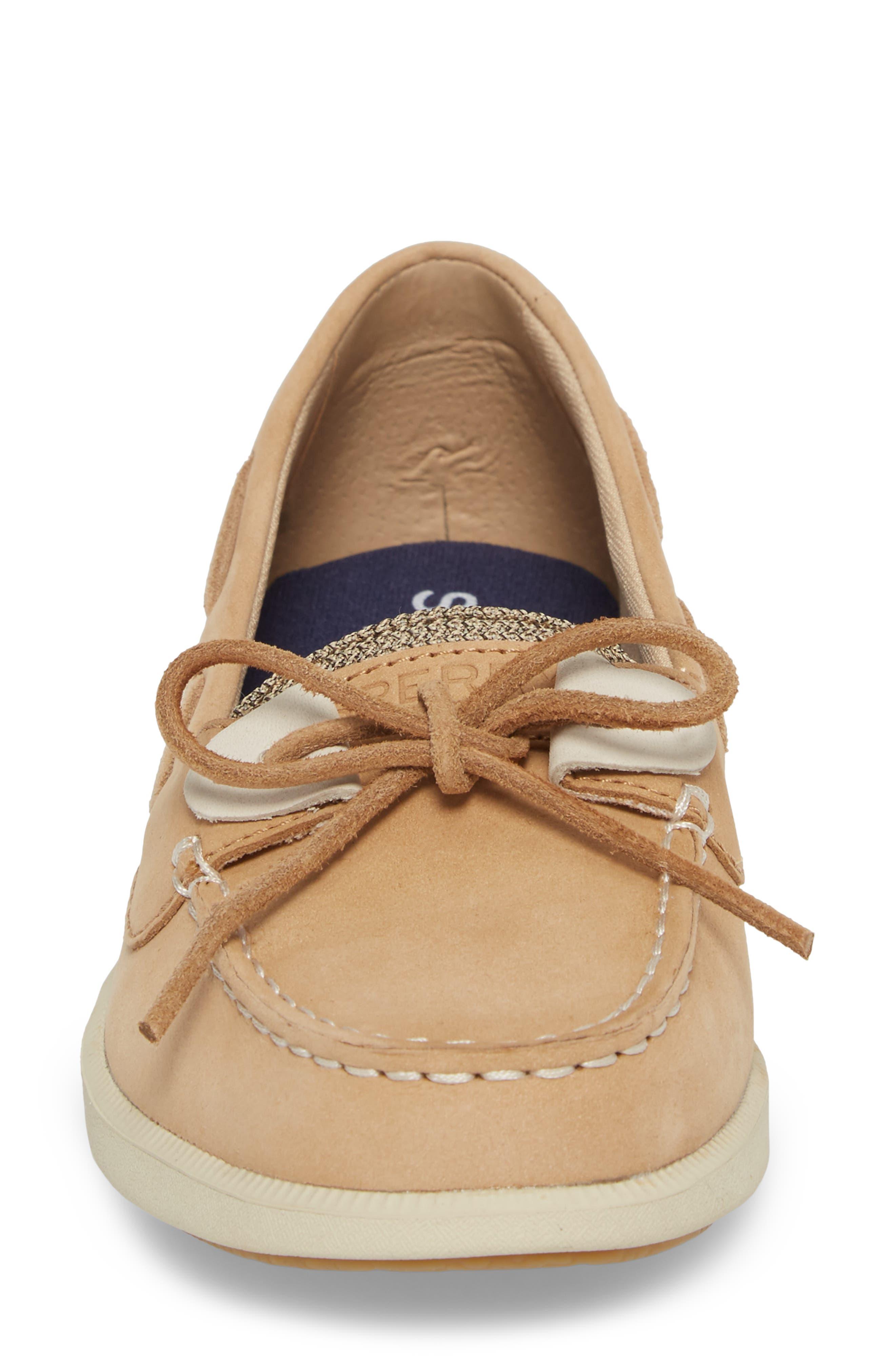 Oasis Boat Shoe,                             Alternate thumbnail 4, color,                             LINEN OAT LEATHER
