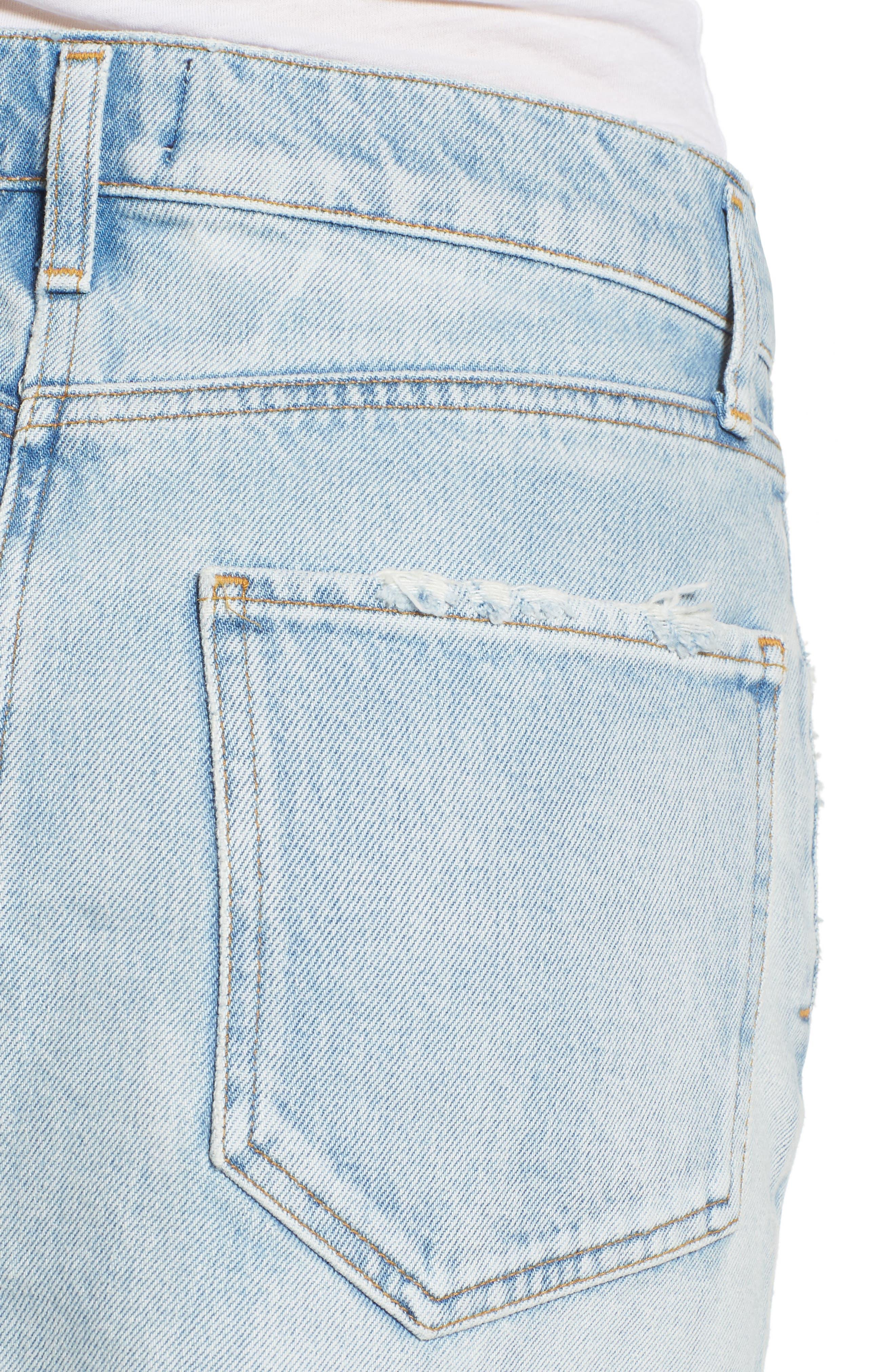 Quinn High Waist Cutoff Denim Miniskirt,                             Alternate thumbnail 4, color,                             VEGA