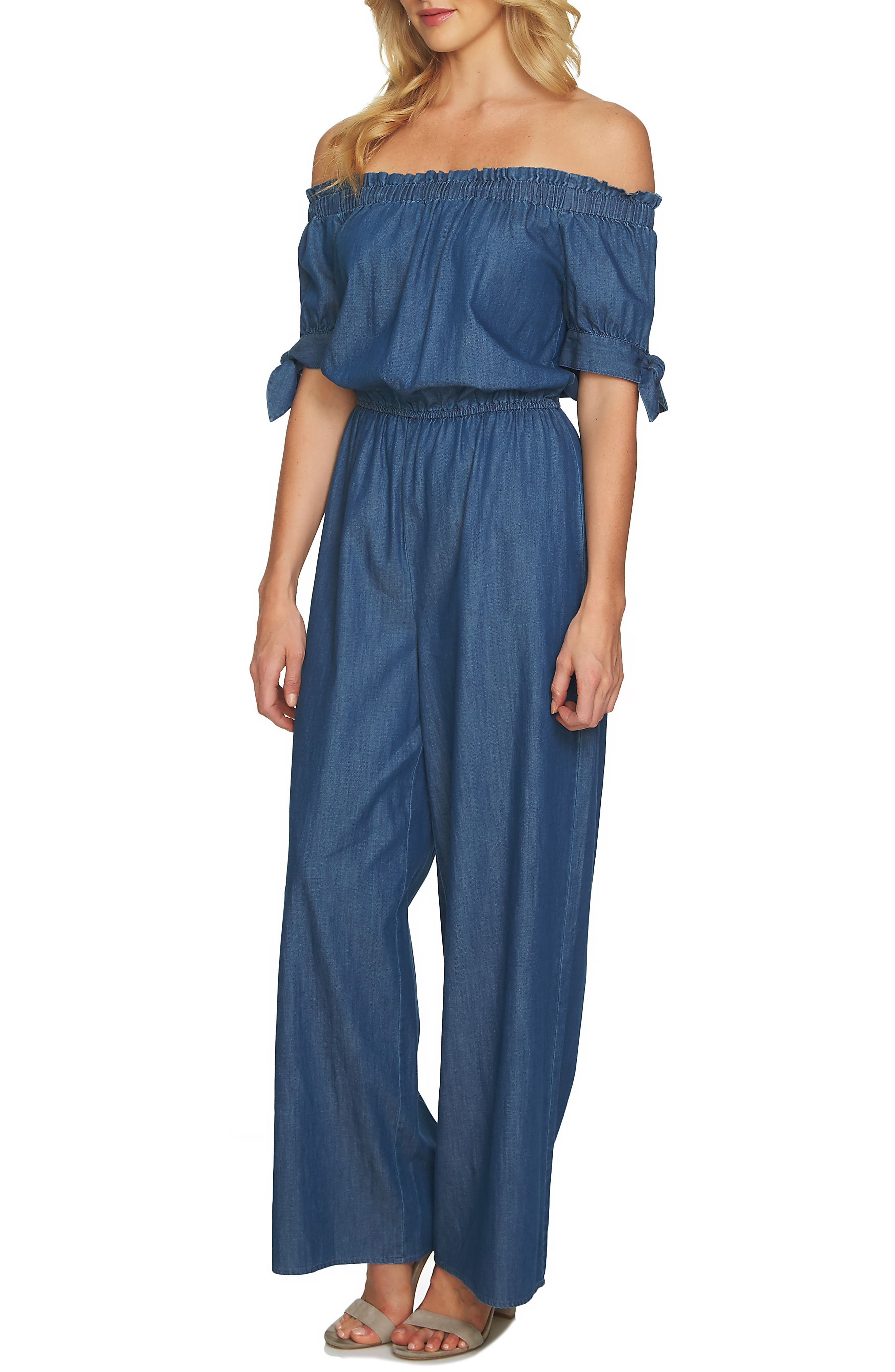Off the Shoulder Wide Leg Jumpsuit,                         Main,                         color, 422