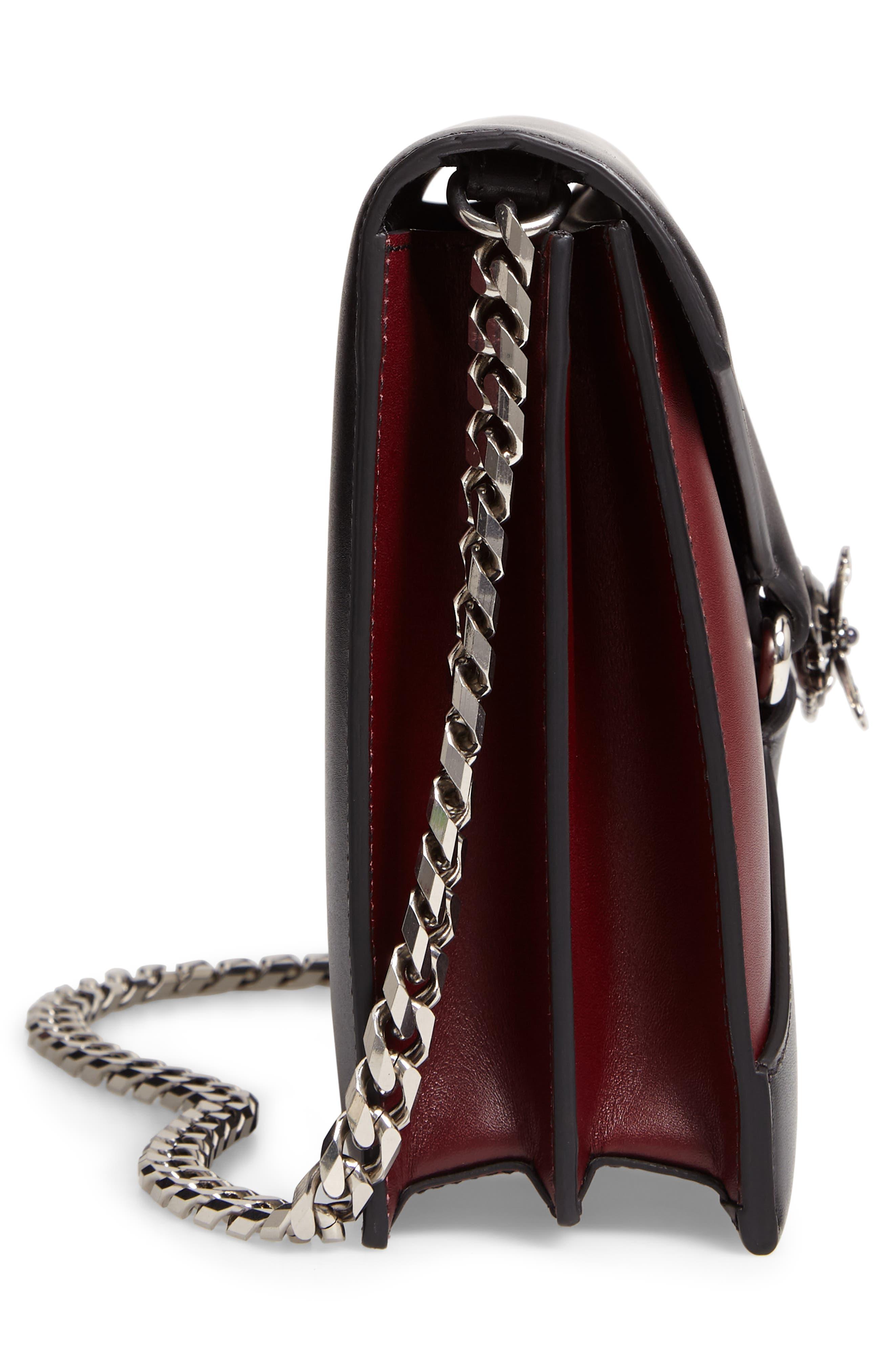 Pin Calfskin Leather Shoulder Bag,                             Alternate thumbnail 5, color,