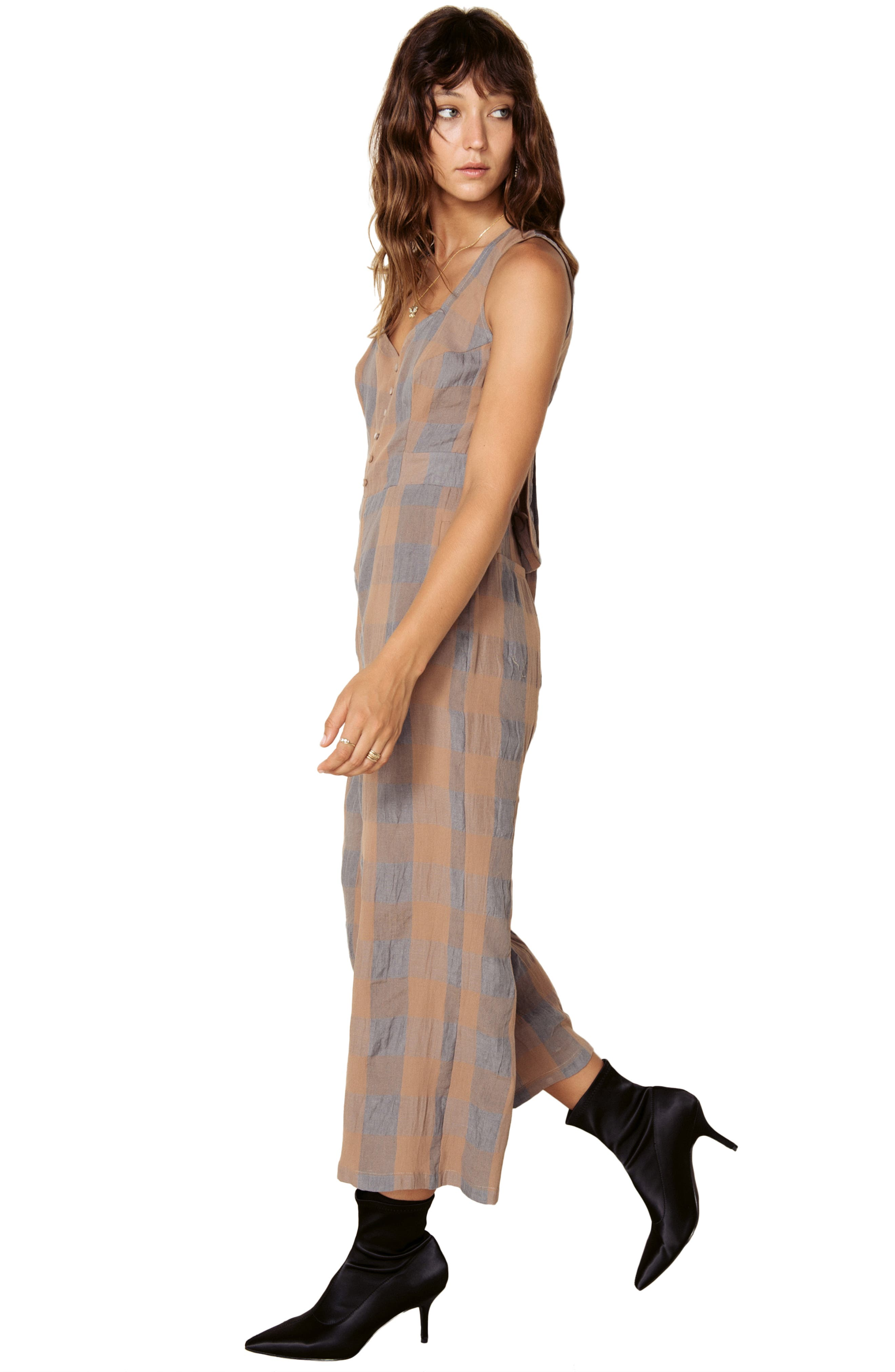 Frankie Check Linen Blend Jumpsuit,                             Alternate thumbnail 9, color,                             SMOKE AND BISCUIT