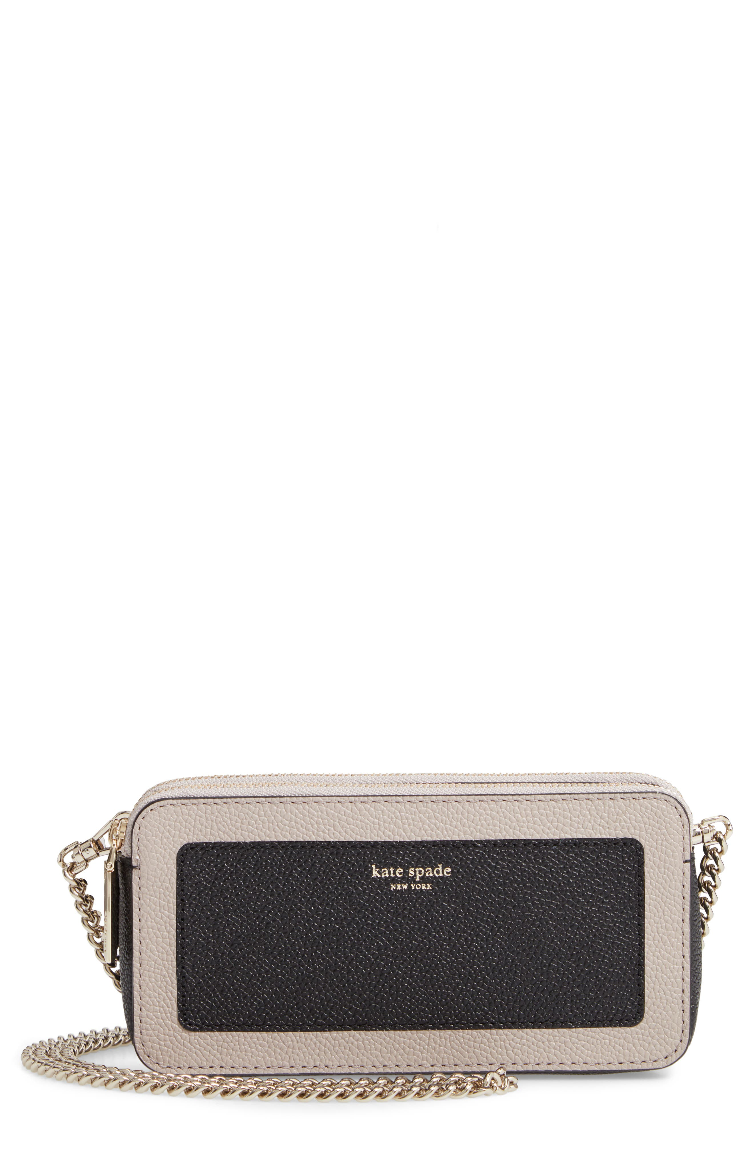 margaux - double zip mini crossbody bag, Main, color, BLACK/ WARM TAUPE